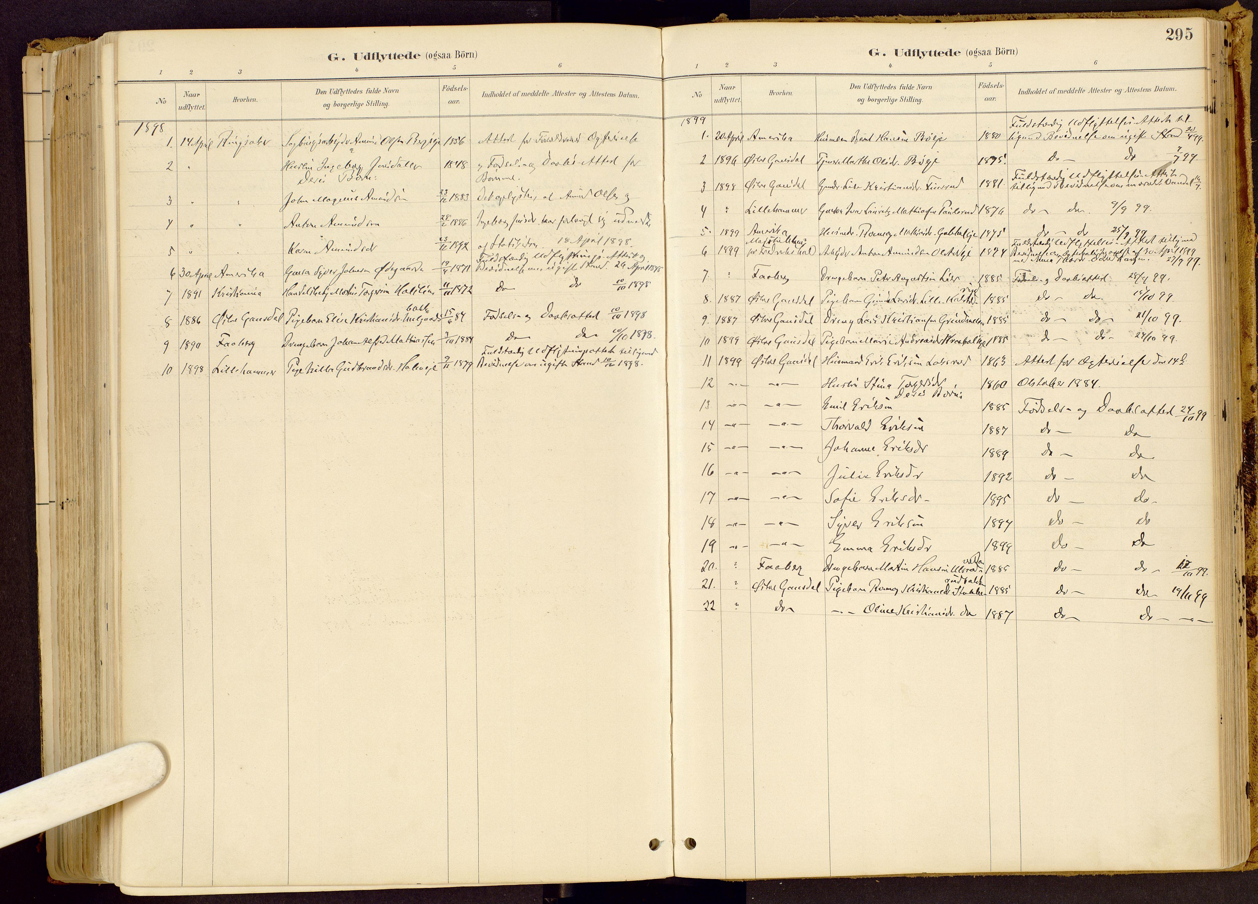 SAH, Vestre Gausdal prestekontor, Ministerialbok nr. 1, 1887-1914, s. 295
