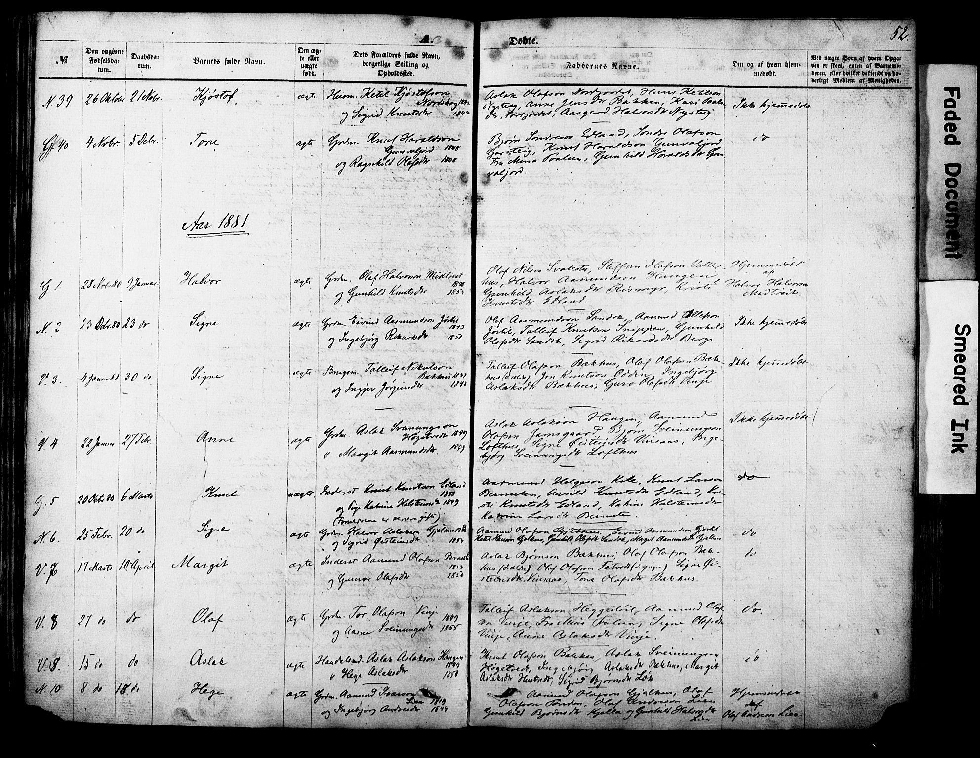 SAKO, Vinje kirkebøker, F/Fa/L0005: Ministerialbok nr. I 5, 1870-1886, s. 52