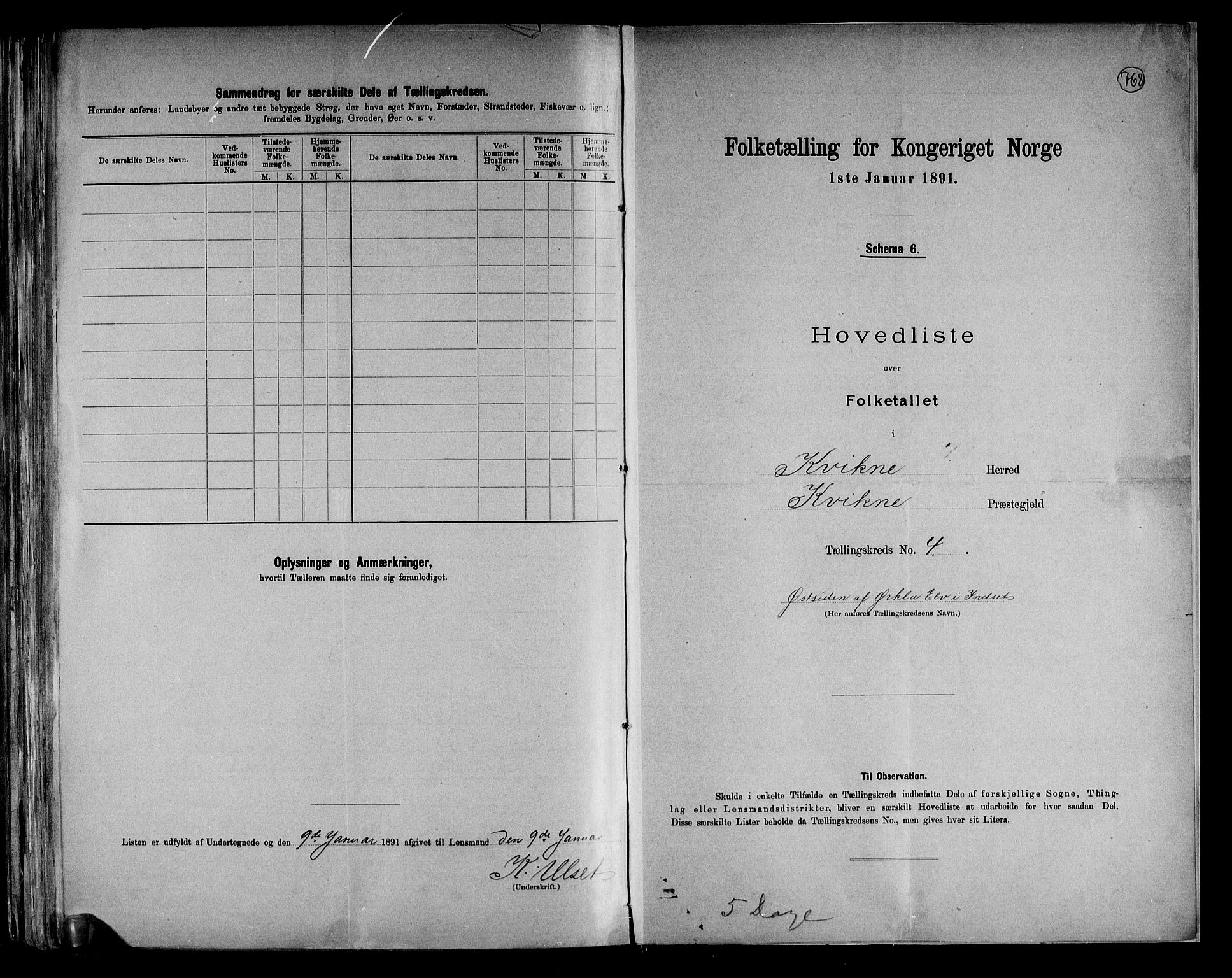 RA, Folketelling 1891 for 0440 Kvikne herred, 1891, s. 11