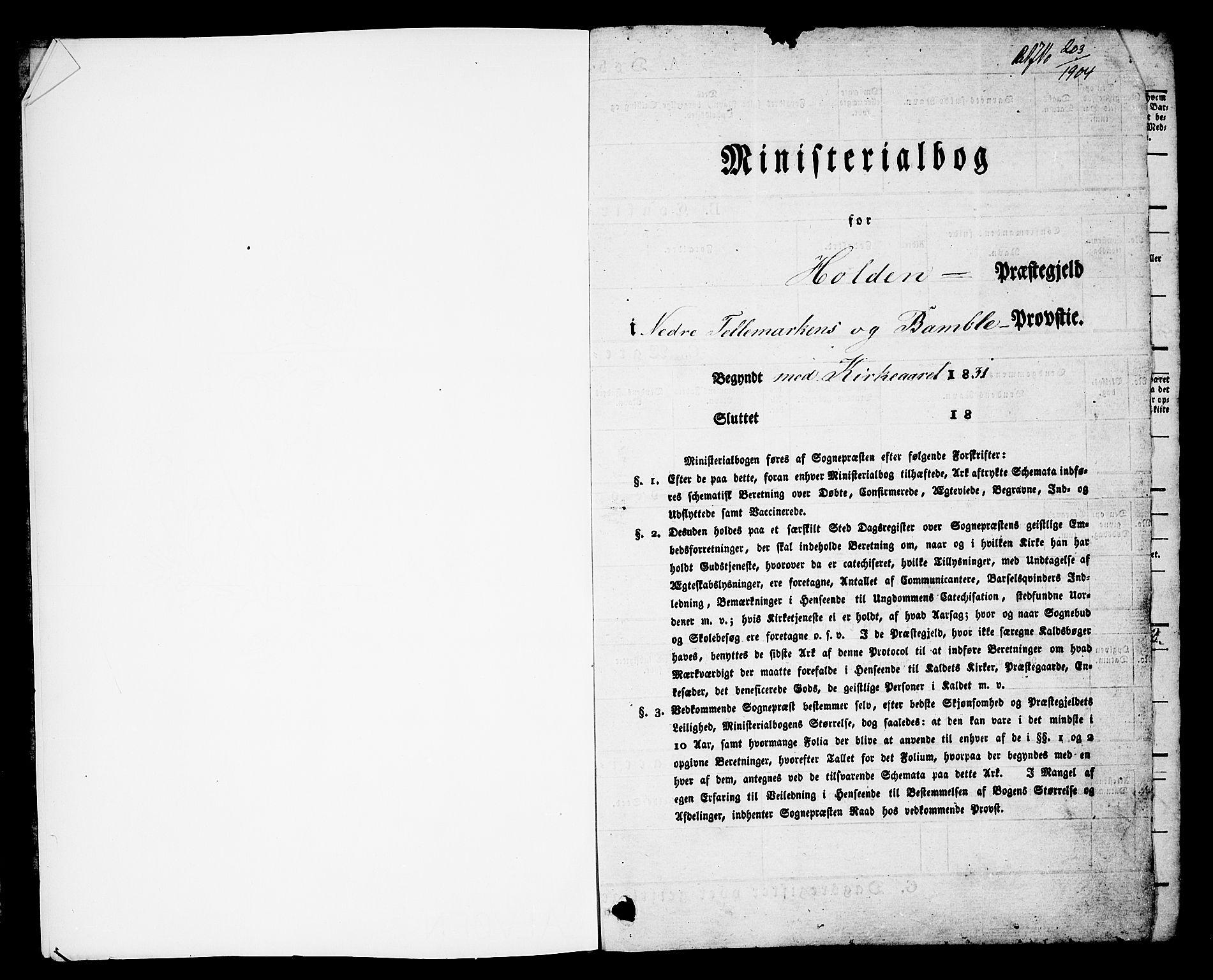 SAKO, Holla kirkebøker, G/Ga/L0002: Klokkerbok nr. I 2, 1830-1848