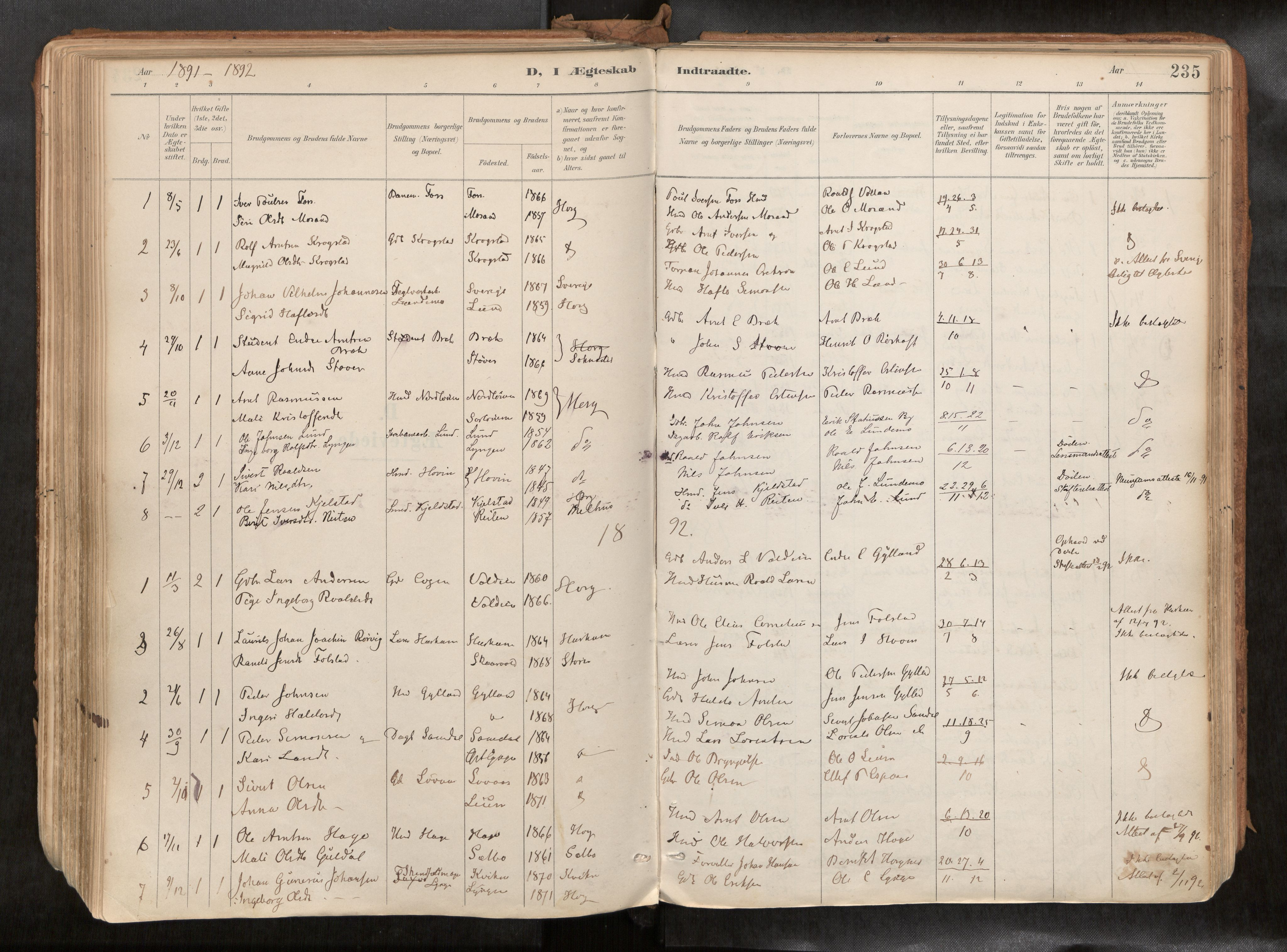 SAT, Ministerialprotokoller, klokkerbøker og fødselsregistre - Sør-Trøndelag, 692/L1105b: Ministerialbok nr. 692A06, 1891-1934, s. 235