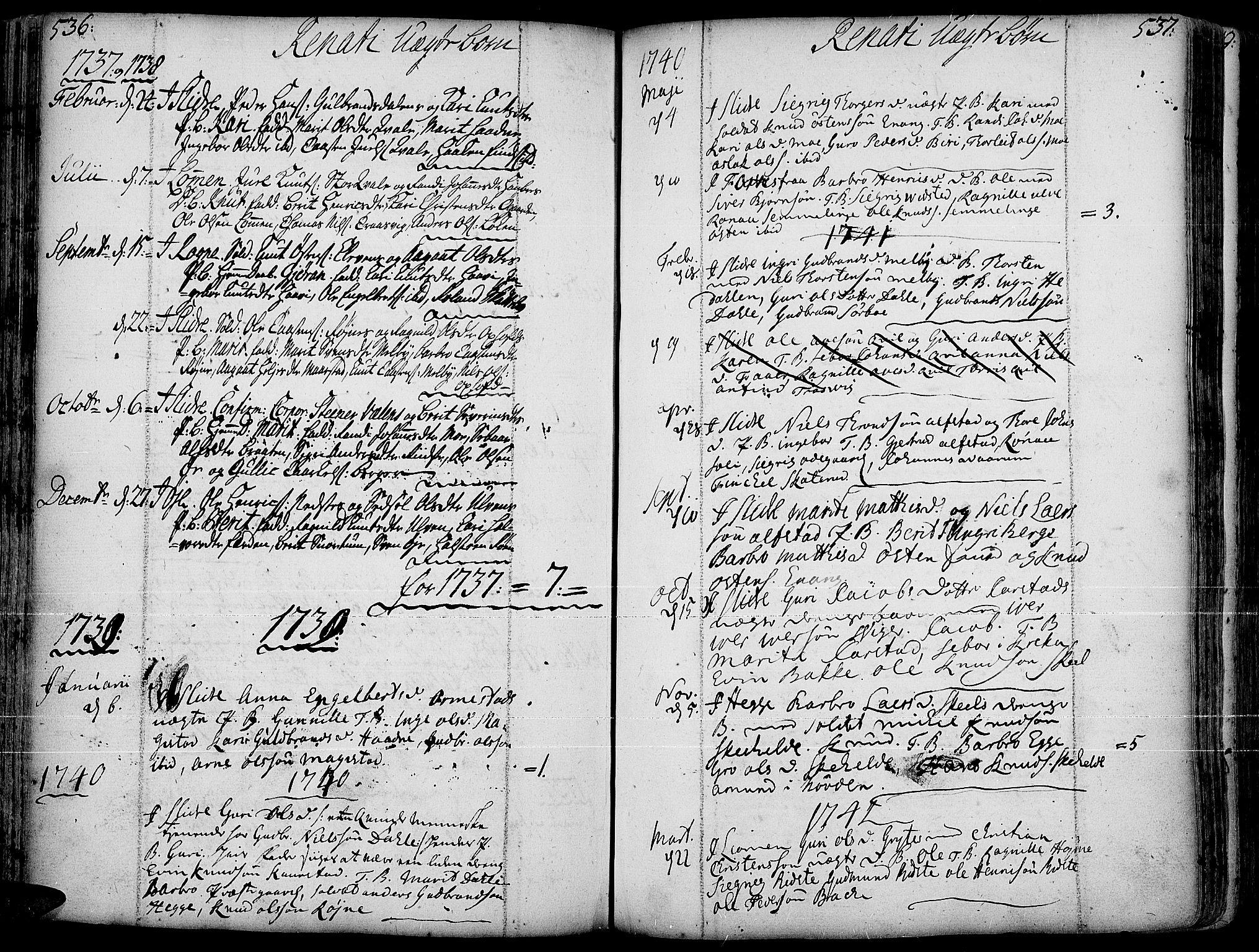 SAH, Slidre prestekontor, Ministerialbok nr. 1, 1724-1814, s. 536-537