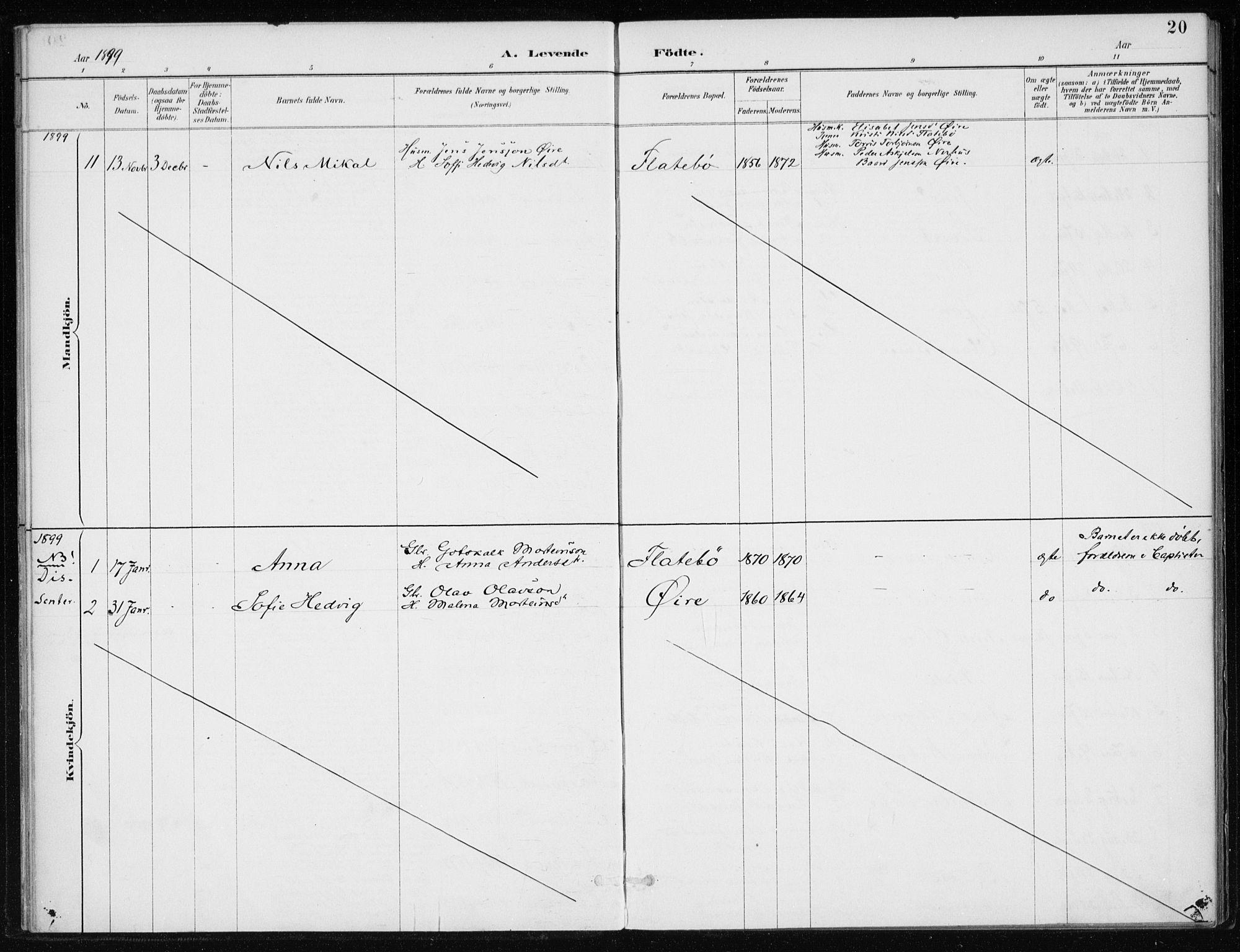 SAB, Kvinnherad Sokneprestembete, H/Haa: Ministerialbok nr. F 1, 1887-1912, s. 20