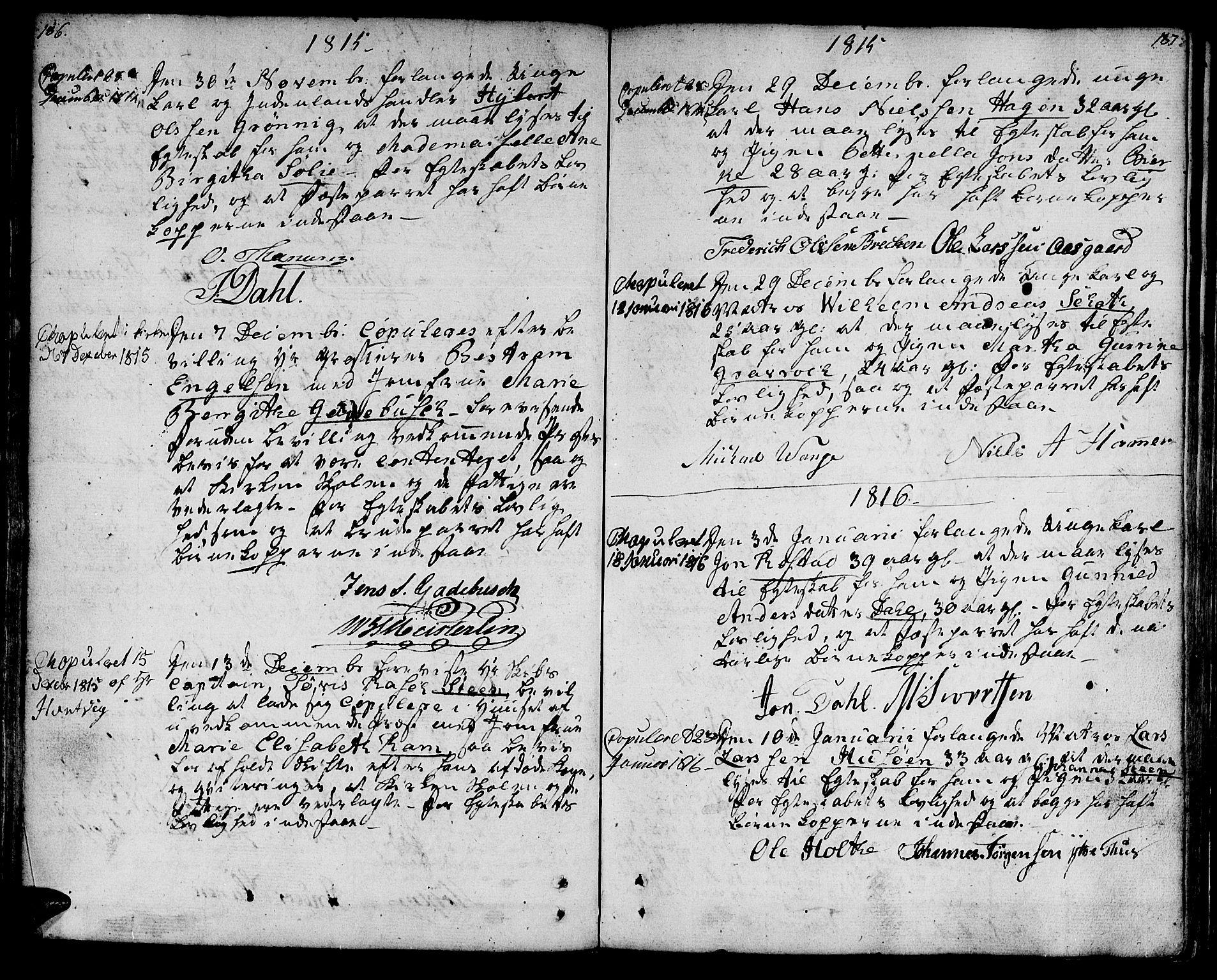SAT, Ministerialprotokoller, klokkerbøker og fødselsregistre - Sør-Trøndelag, 601/L0042: Ministerialbok nr. 601A10, 1802-1830, s. 186-187