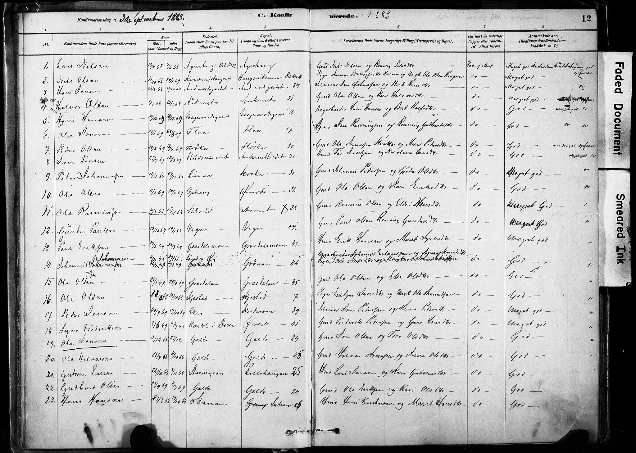 SAH, Lom prestekontor, K/L0009: Ministerialbok nr. 9, 1878-1907, s. 12