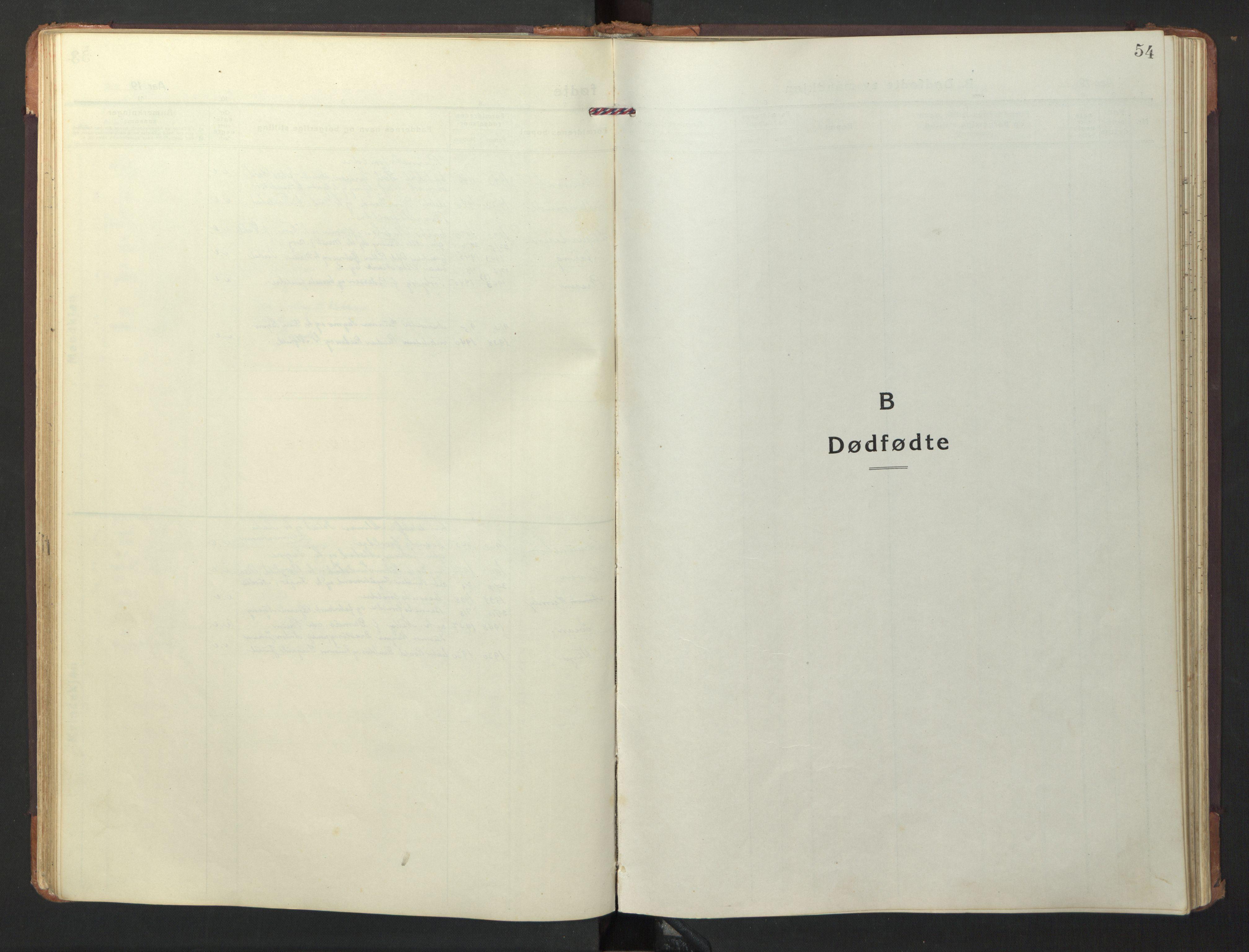 SAT, Ministerialprotokoller, klokkerbøker og fødselsregistre - Nord-Trøndelag, 733/L0328: Klokkerbok nr. 733C03, 1919-1966, s. 54