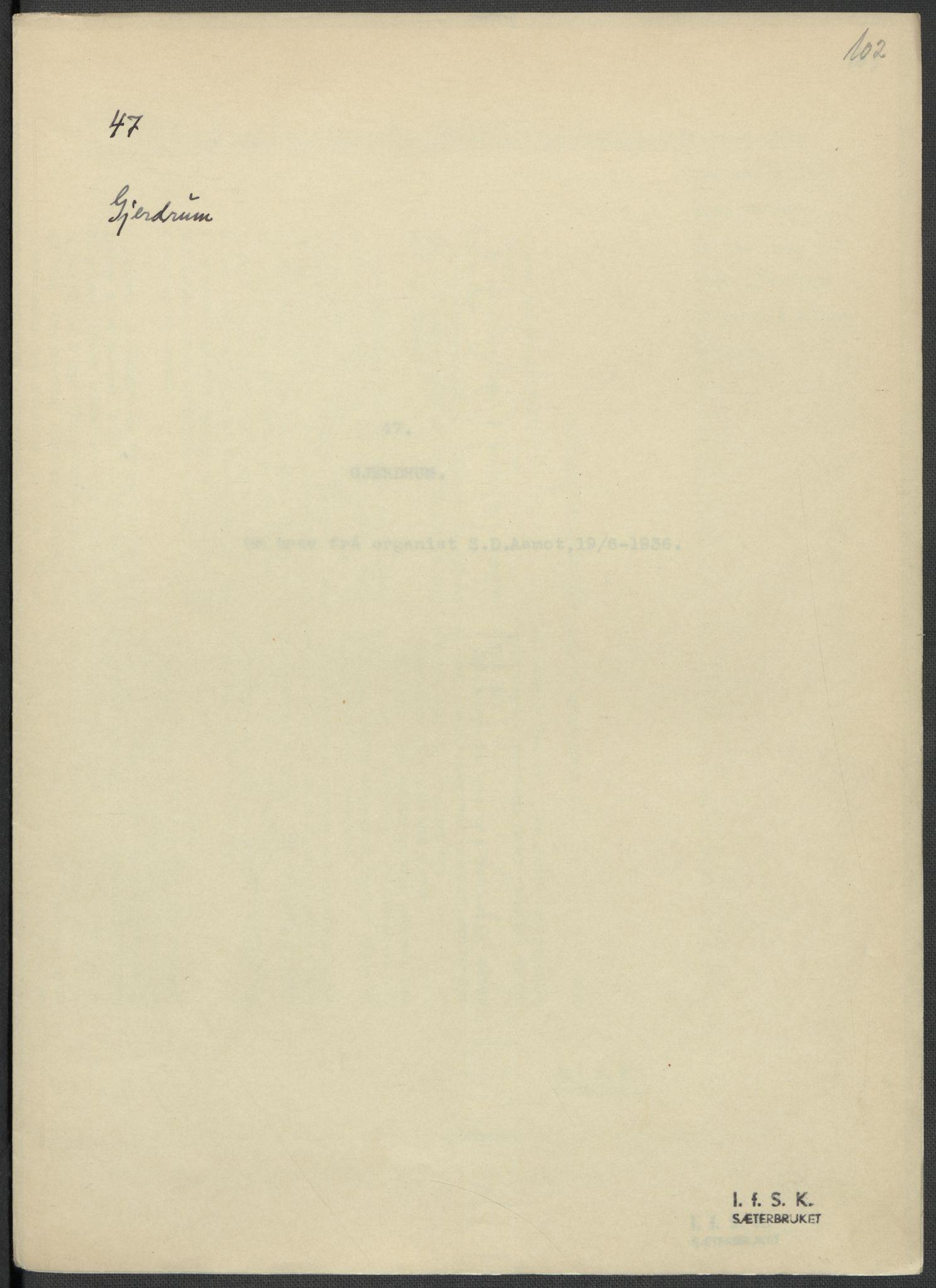 RA, Instituttet for sammenlignende kulturforskning, F/Fc/L0002: Eske B2:, 1932-1936, s. 102