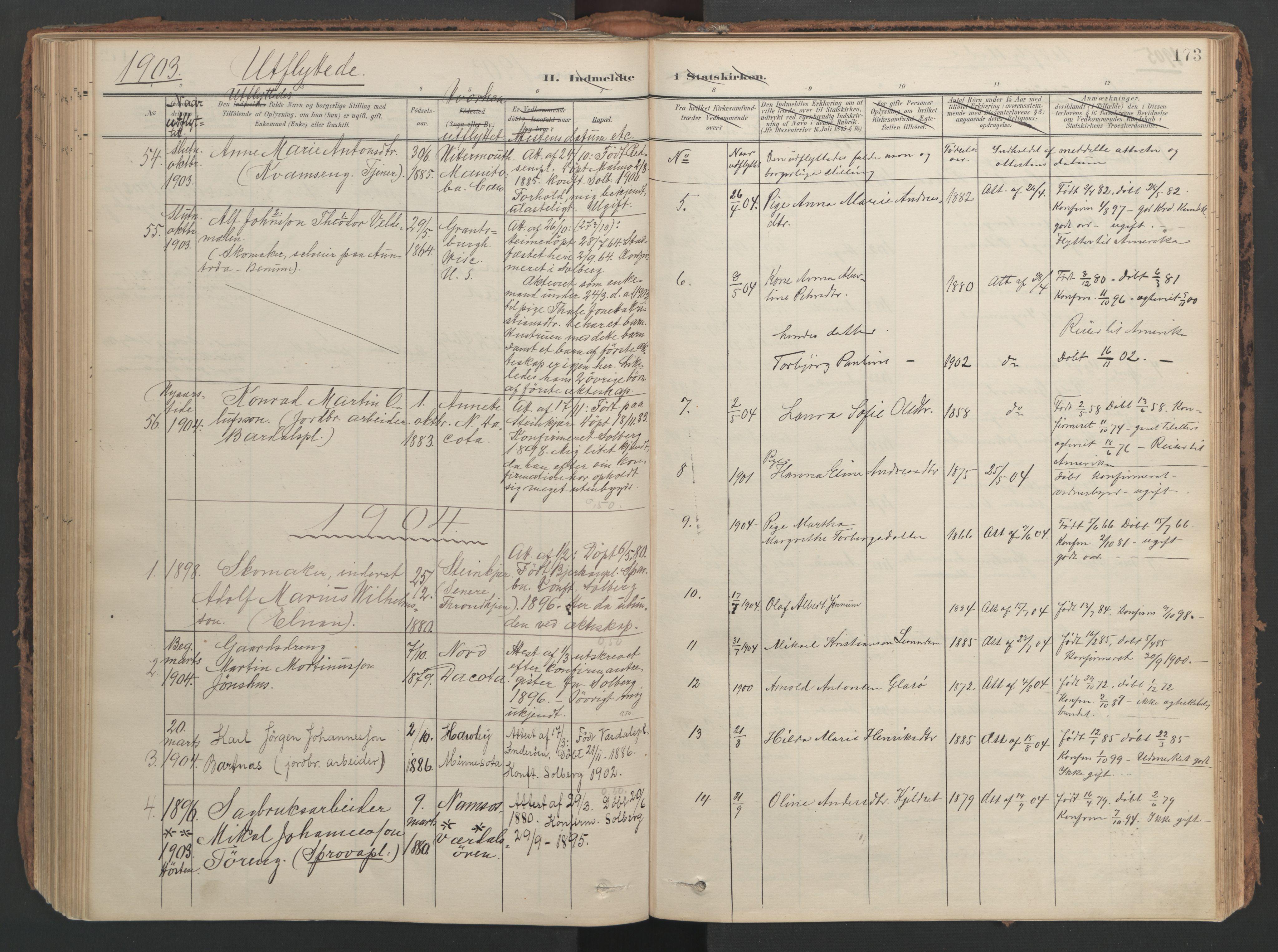 SAT, Ministerialprotokoller, klokkerbøker og fødselsregistre - Nord-Trøndelag, 741/L0397: Ministerialbok nr. 741A11, 1901-1911, s. 173