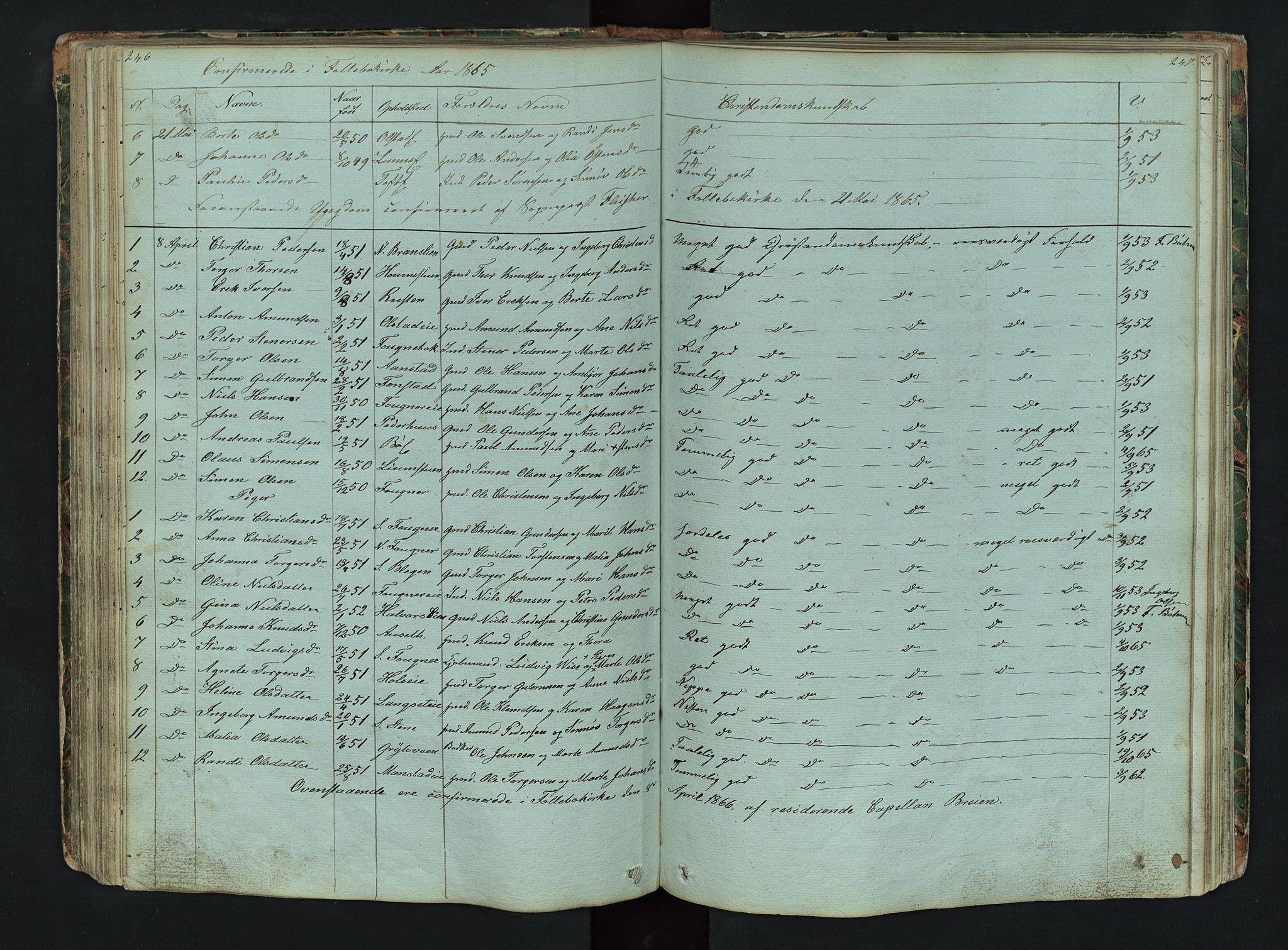 SAH, Gausdal prestekontor, Klokkerbok nr. 6, 1846-1893, s. 246-247