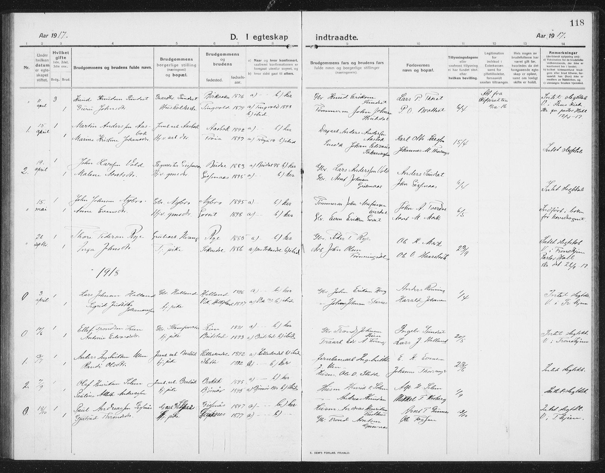 SAT, Ministerialprotokoller, klokkerbøker og fødselsregistre - Sør-Trøndelag, 675/L0888: Klokkerbok nr. 675C01, 1913-1935, s. 118