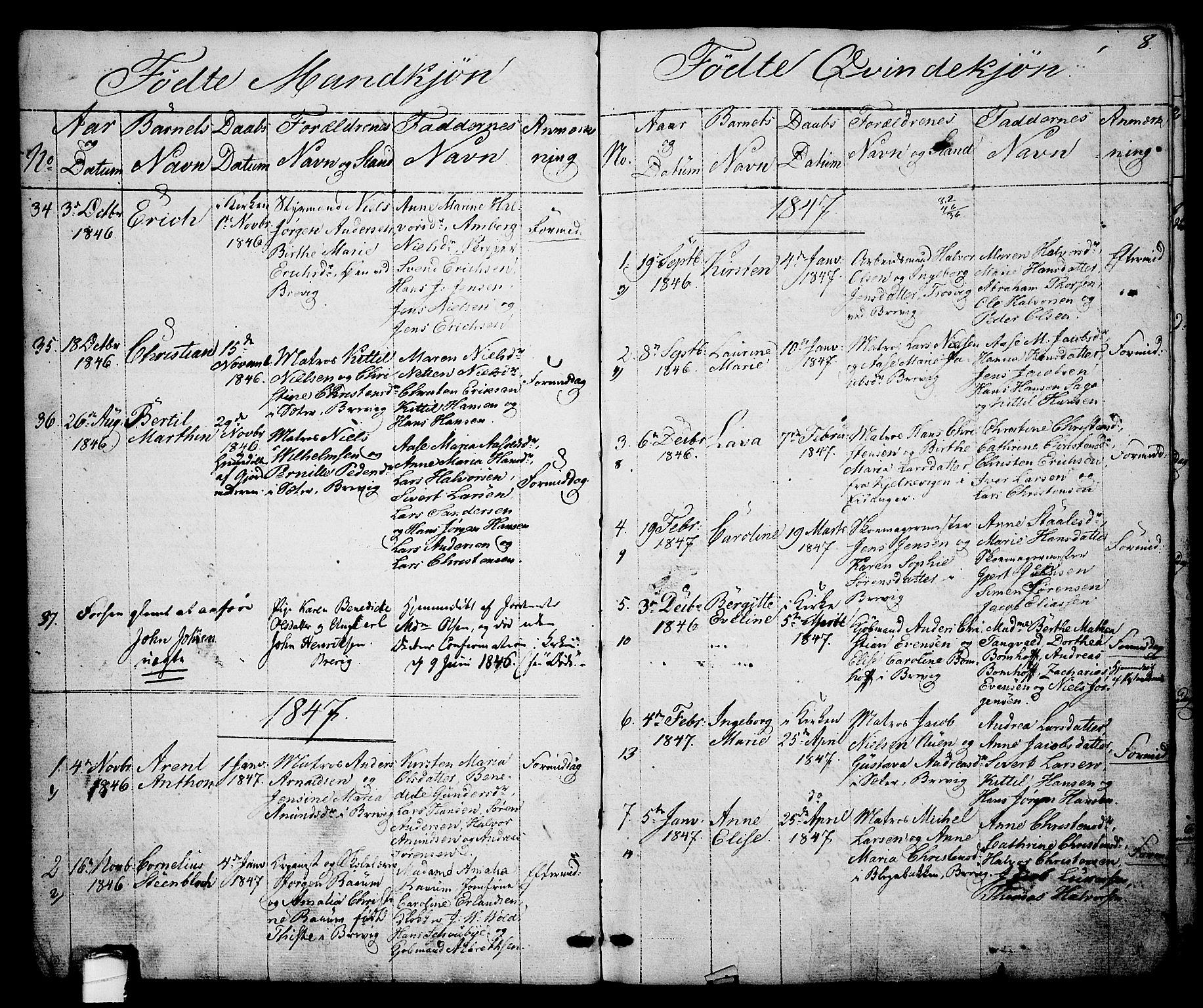 SAKO, Brevik kirkebøker, G/Ga/L0002: Klokkerbok nr. 2, 1846-1865, s. 8