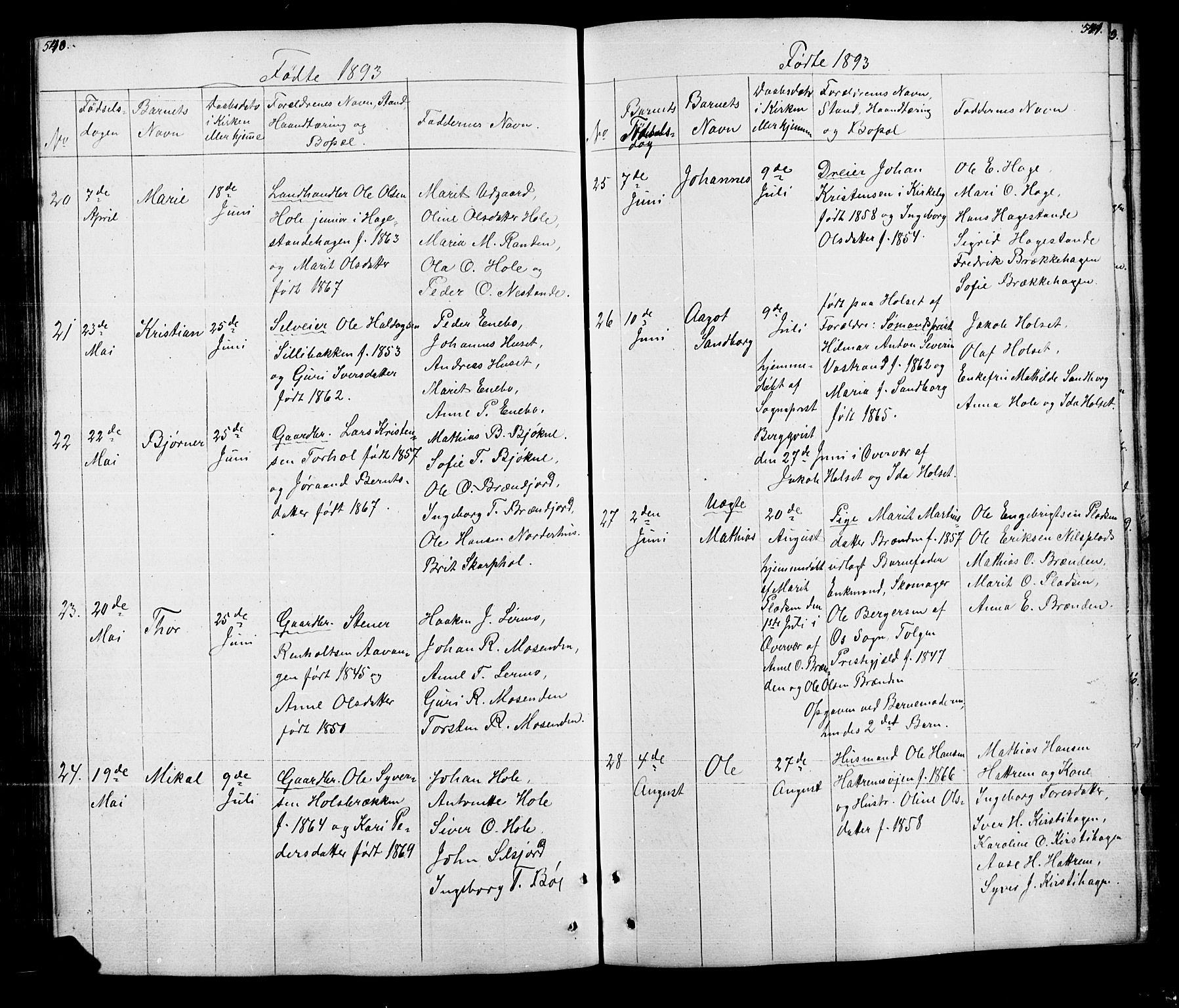 SAH, Lesja prestekontor, Klokkerbok nr. 5, 1850-1894, s. 540-541