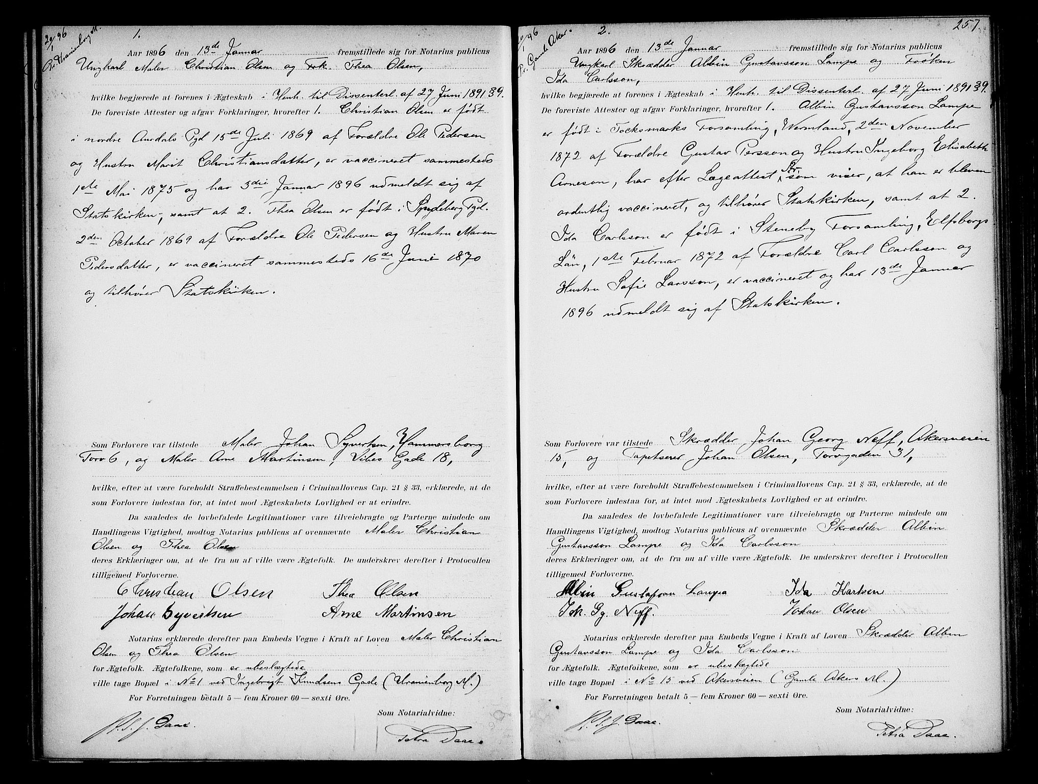 SAO, Oslo byfogd avd. I, L/Lb/Lbb/L0003: Notarialprotokoll, rekke II: Vigsler, 1893-1897, s. 256b-257a