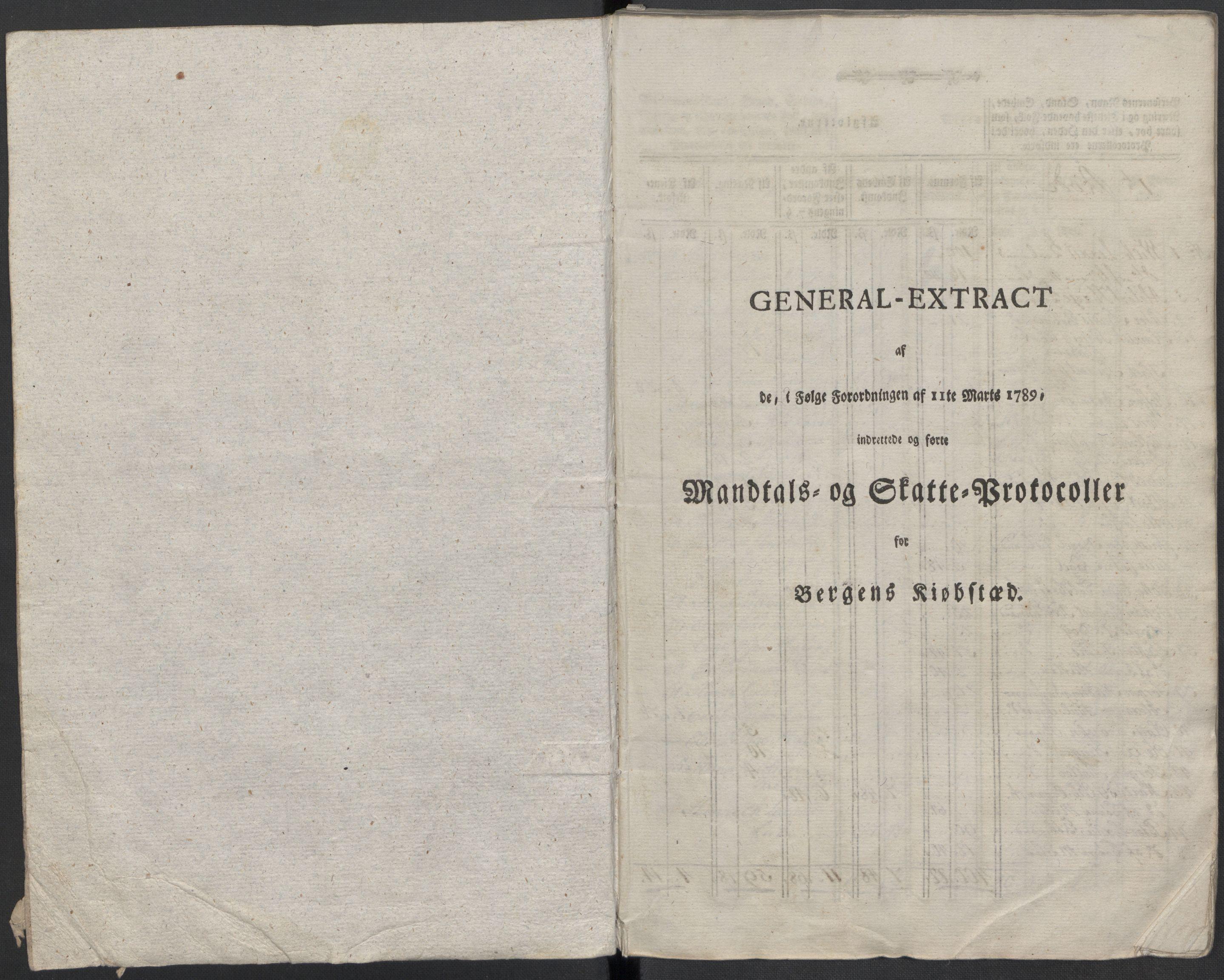RA, Rentekammeret inntil 1814, Reviderte regnskaper, Mindre regnskaper, Rf/Rfe/L0003: Bergen. Bragernes, 1789, s. 5