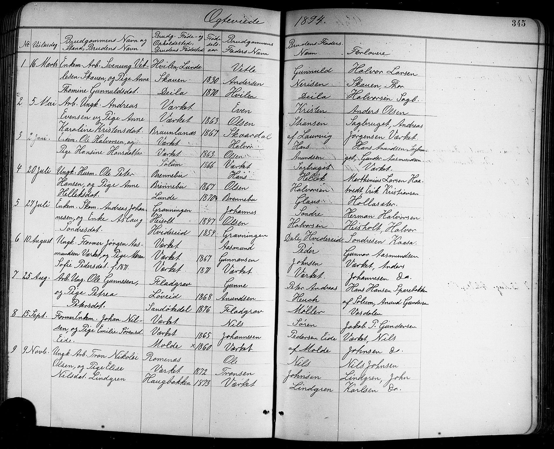 SAKO, Holla kirkebøker, G/Ga/L0005: Klokkerbok nr. I 5, 1891-1917, s. 345