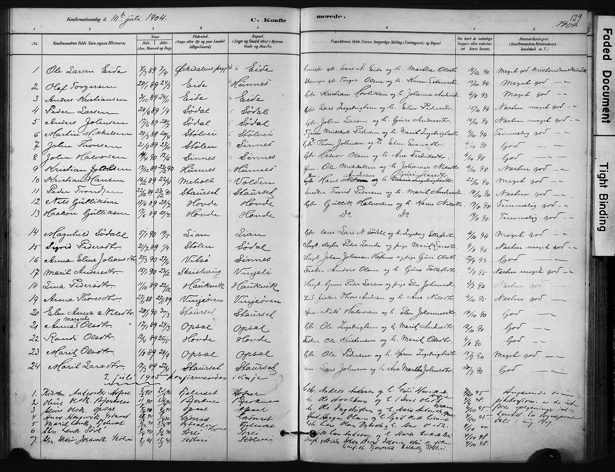 SAT, Ministerialprotokoller, klokkerbøker og fødselsregistre - Sør-Trøndelag, 631/L0512: Ministerialbok nr. 631A01, 1879-1912, s. 129