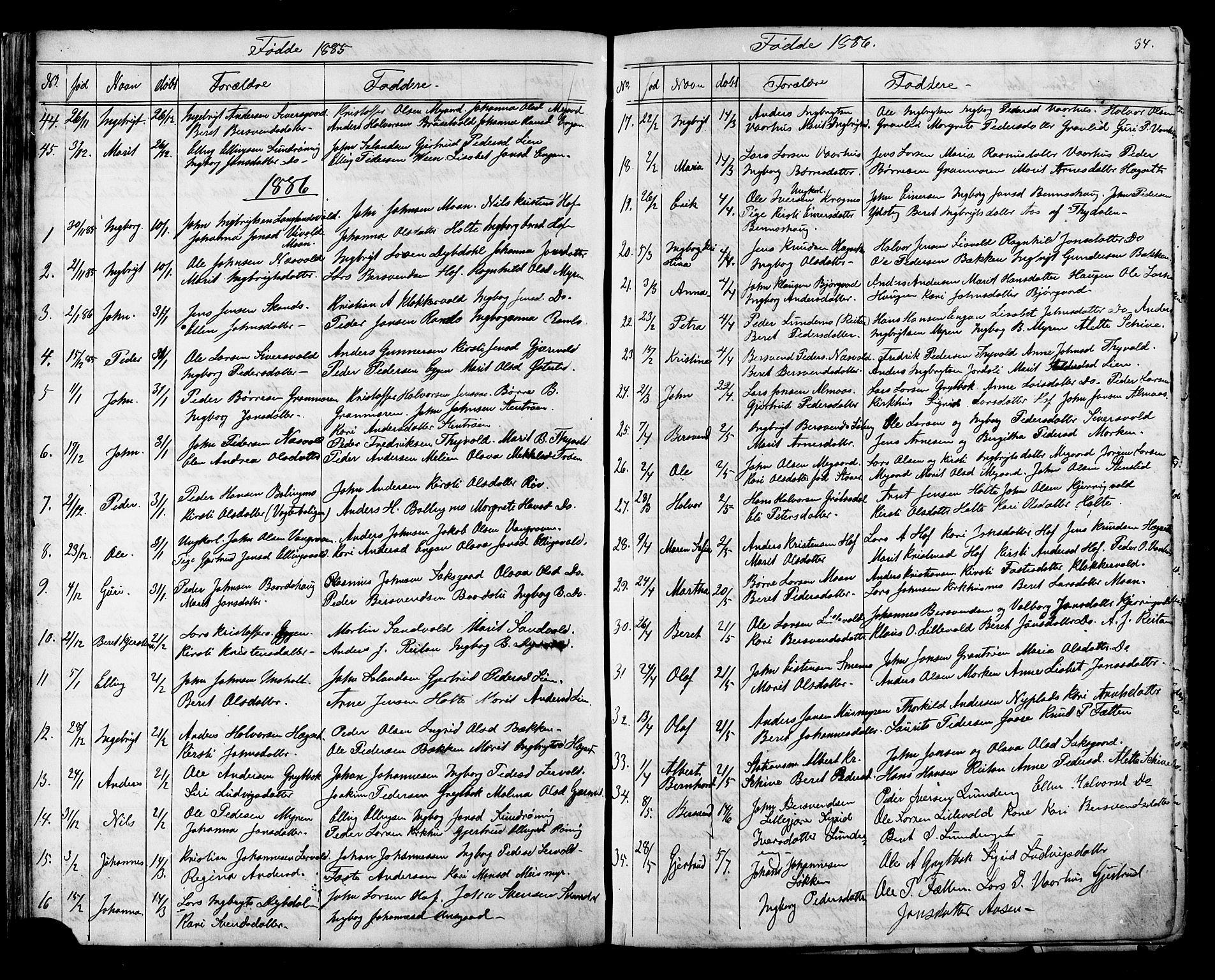 SAT, Ministerialprotokoller, klokkerbøker og fødselsregistre - Sør-Trøndelag, 686/L0985: Klokkerbok nr. 686C01, 1871-1933, s. 34