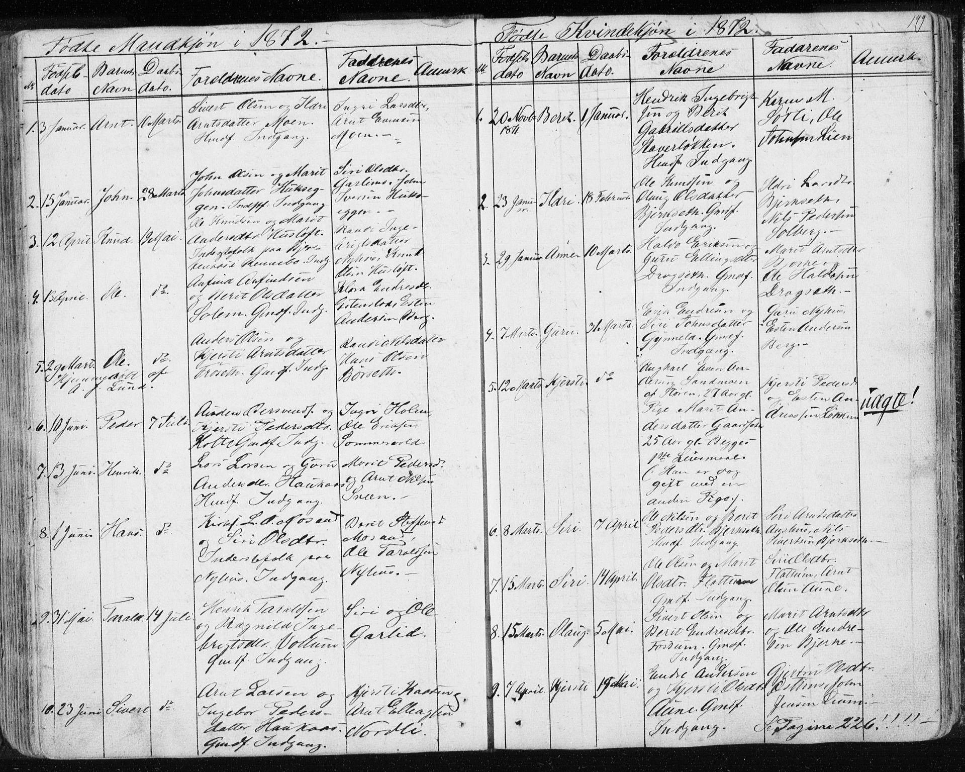 SAT, Ministerialprotokoller, klokkerbøker og fødselsregistre - Sør-Trøndelag, 689/L1043: Klokkerbok nr. 689C02, 1816-1892, s. 149