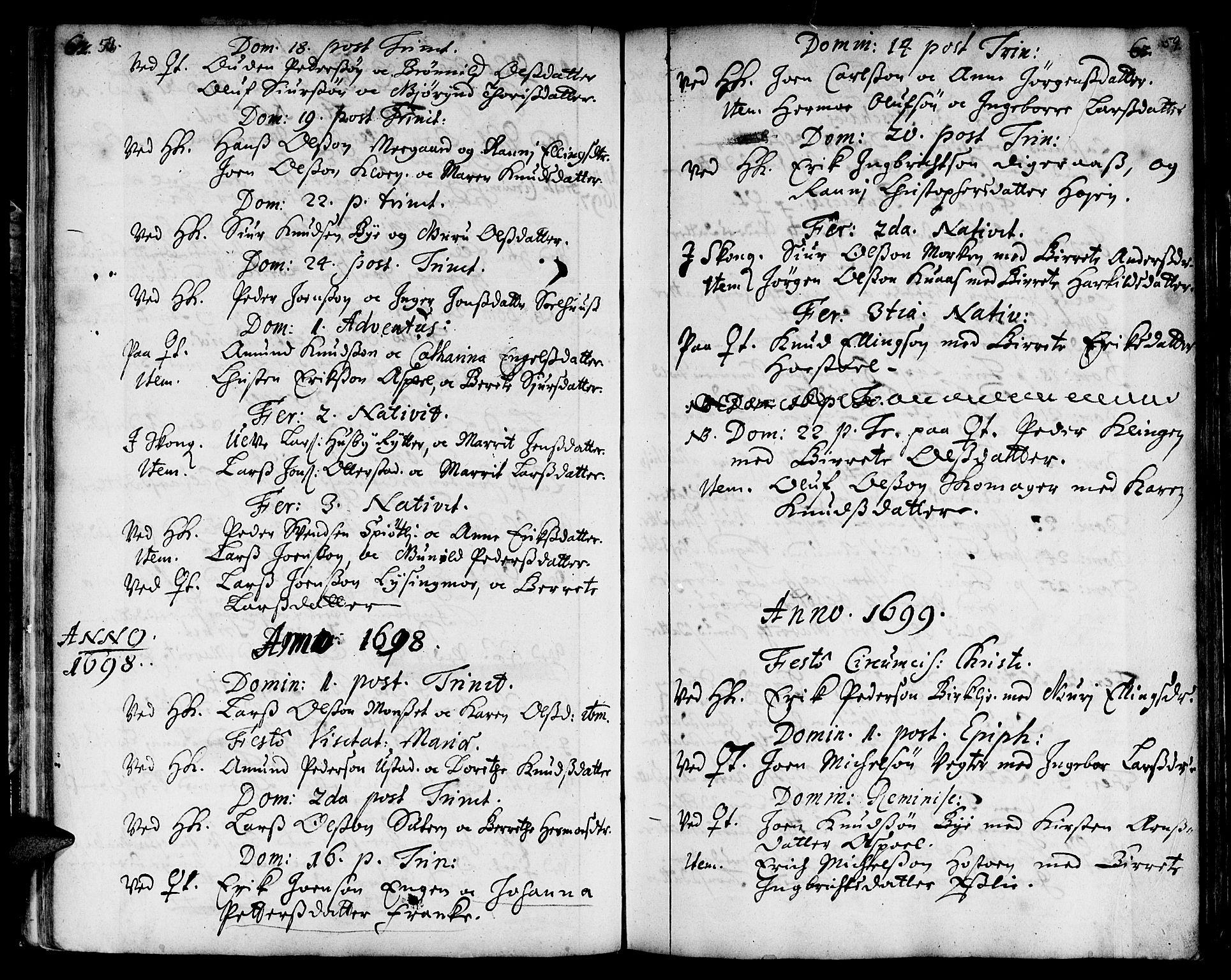 SAT, Ministerialprotokoller, klokkerbøker og fødselsregistre - Sør-Trøndelag, 668/L0801: Ministerialbok nr. 668A01, 1695-1716, s. 58-59