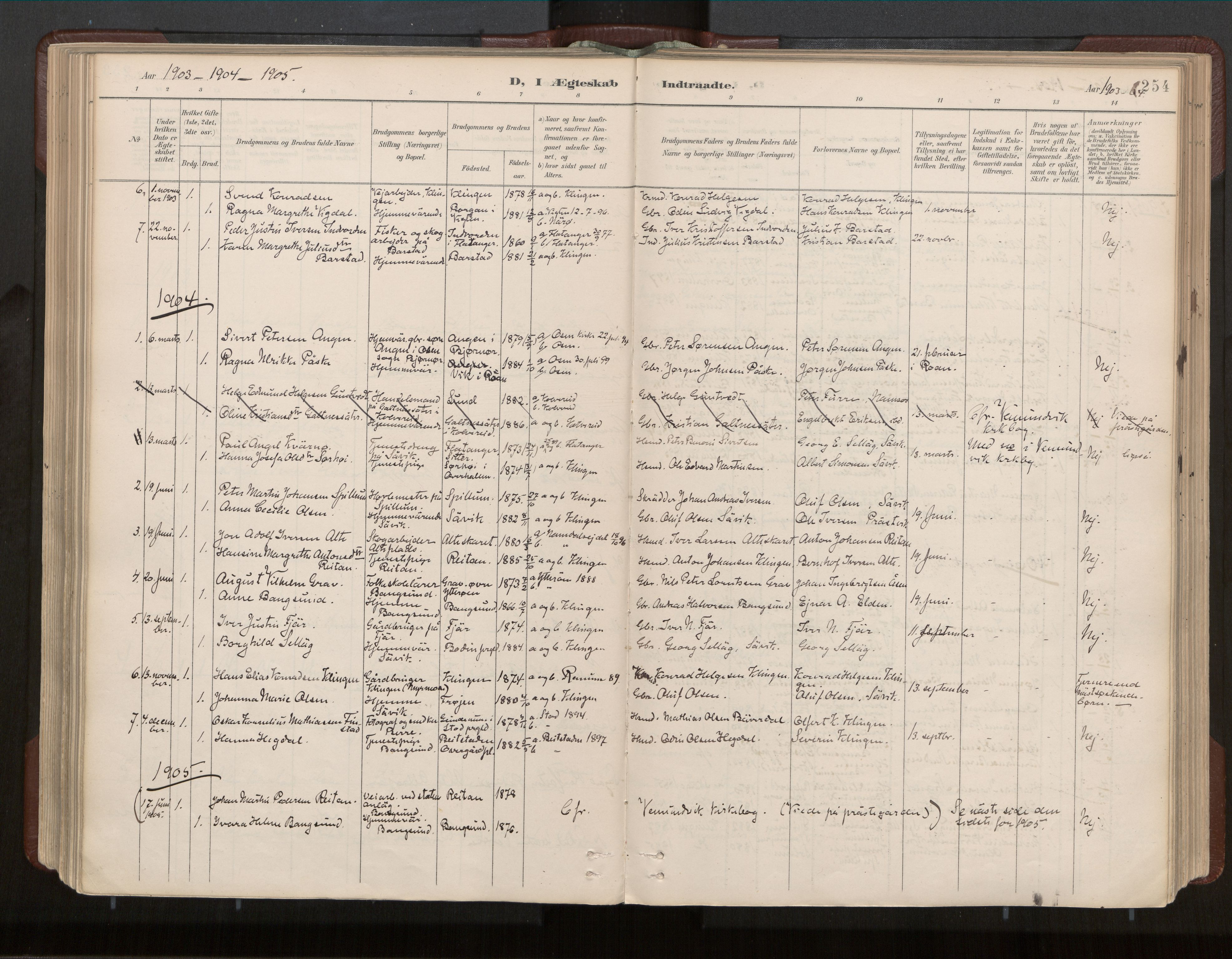 SAT, Ministerialprotokoller, klokkerbøker og fødselsregistre - Nord-Trøndelag, 770/L0589: Ministerialbok nr. 770A03, 1887-1929, s. 254