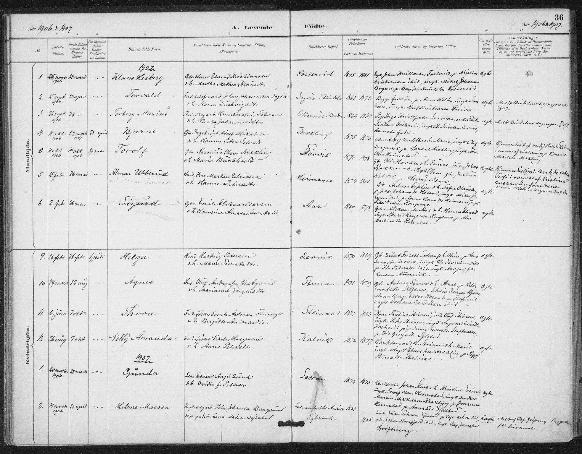 SAT, Ministerialprotokoller, klokkerbøker og fødselsregistre - Nord-Trøndelag, 783/L0660: Ministerialbok nr. 783A02, 1886-1918, s. 36
