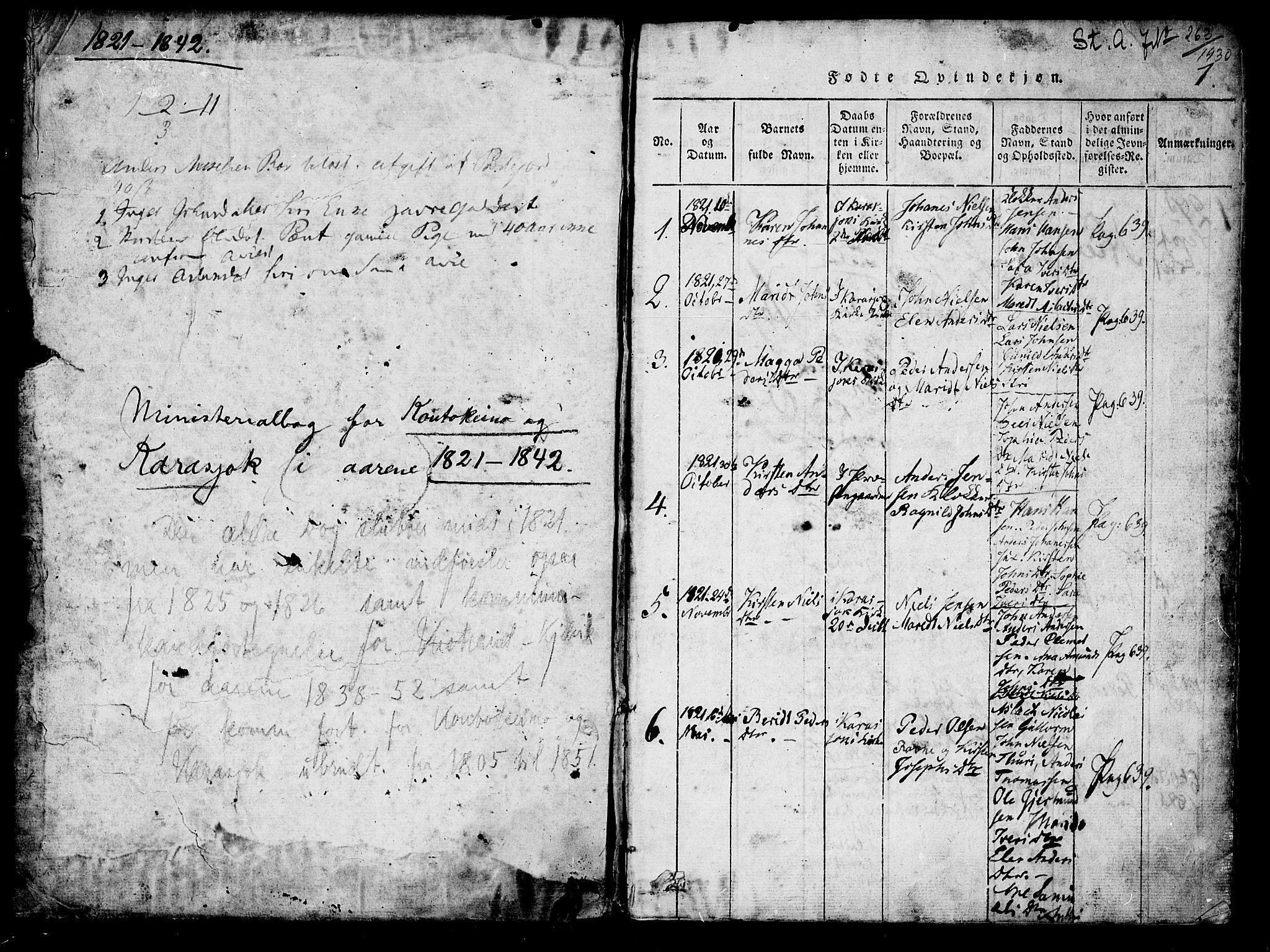 SATØ, Kistrand/Porsanger sokneprestembete, H/Ha/L0010.kirke: Ministerialbok nr. 10, 1821-1842, s. 0-1