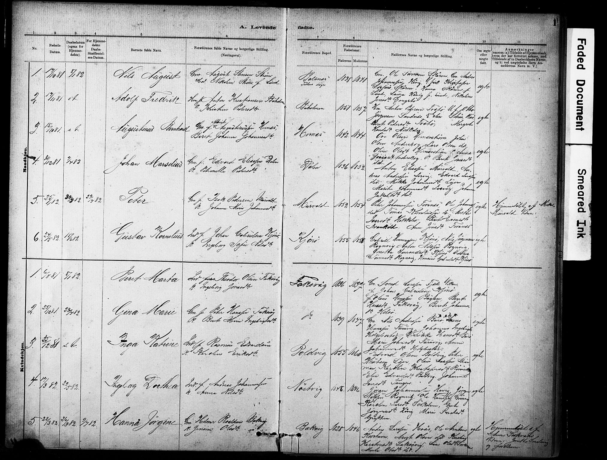 SAT, Ministerialprotokoller, klokkerbøker og fødselsregistre - Sør-Trøndelag, 635/L0551: Ministerialbok nr. 635A01, 1882-1899, s. 1