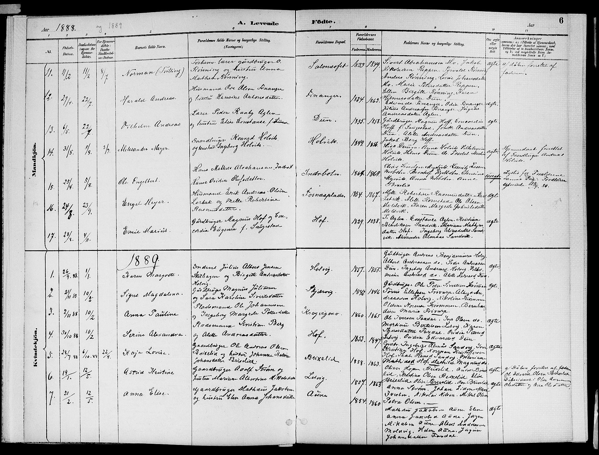 SAT, Ministerialprotokoller, klokkerbøker og fødselsregistre - Nord-Trøndelag, 773/L0617: Ministerialbok nr. 773A08, 1887-1910, s. 6