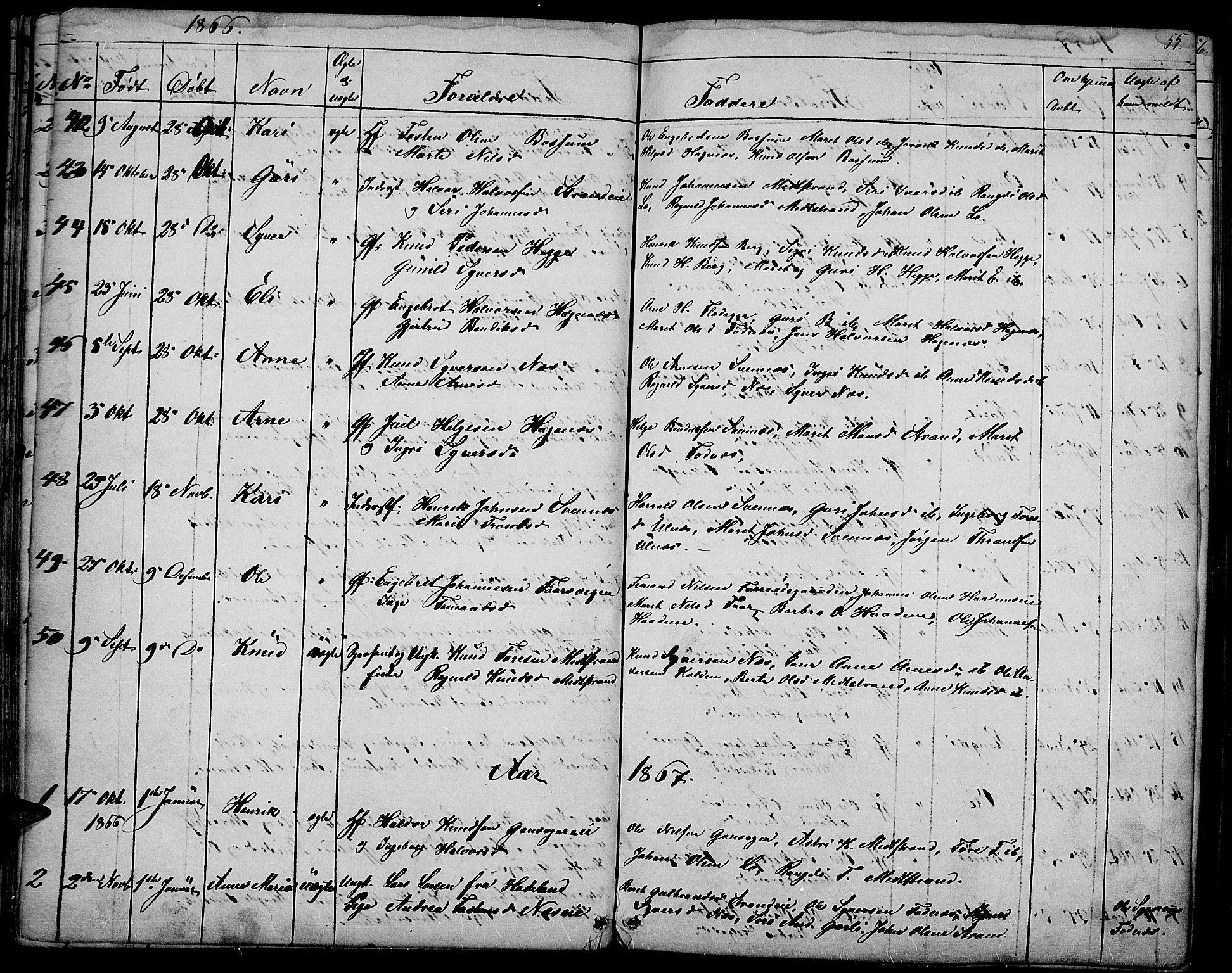 SAH, Nord-Aurdal prestekontor, Klokkerbok nr. 3, 1842-1882, s. 55