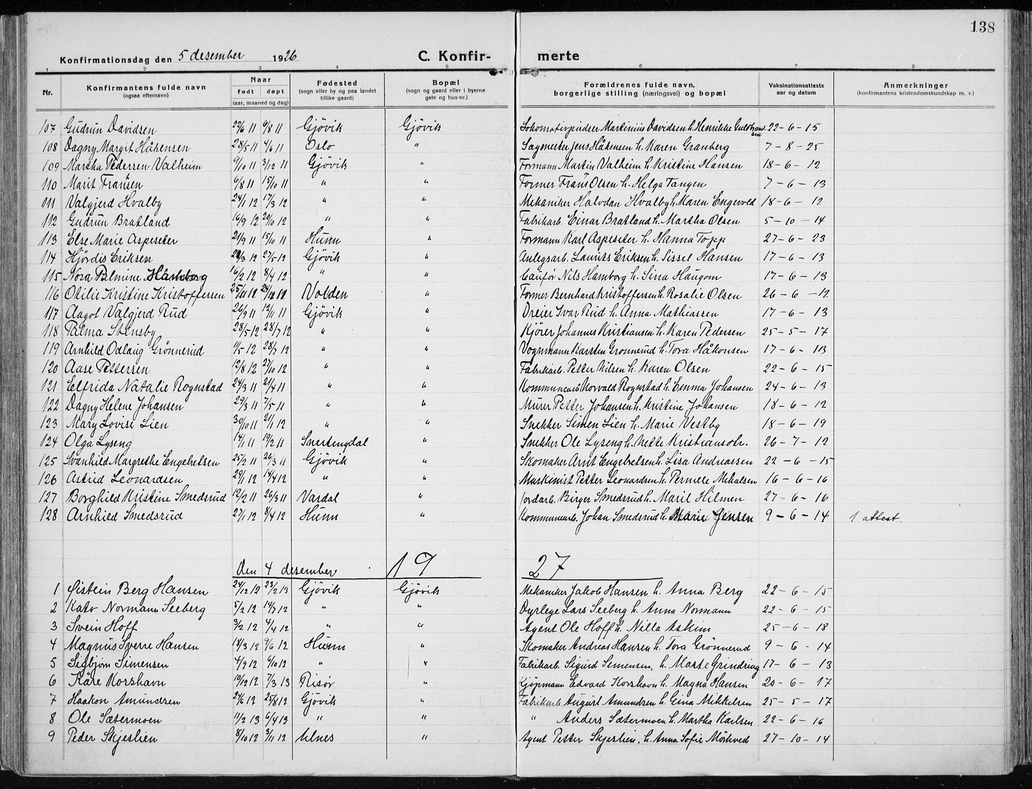 SAH, Vardal prestekontor, H/Ha/Haa/L0015: Ministerialbok nr. 15, 1923-1937, s. 138