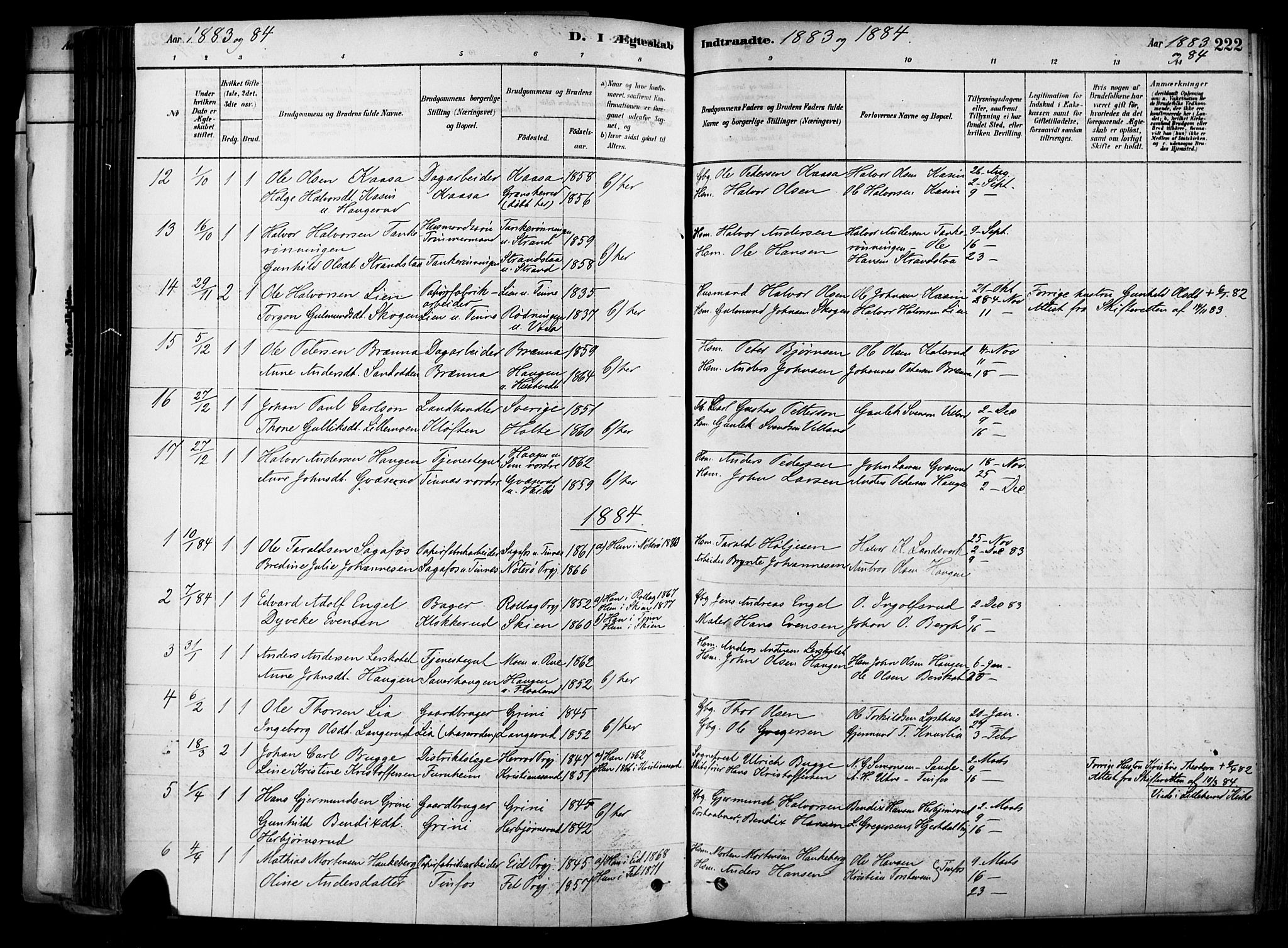 SAKO, Heddal kirkebøker, F/Fa/L0008: Ministerialbok nr. I 8, 1878-1903, s. 222