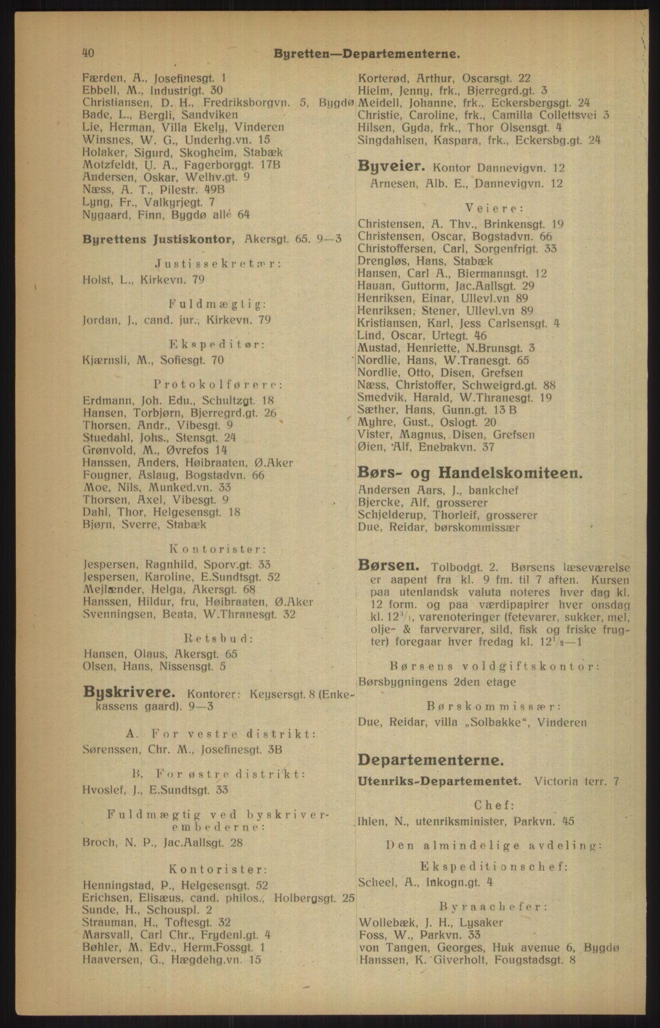 RA, Kristiania adressebok (publikasjon)*, 1915, s. 40
