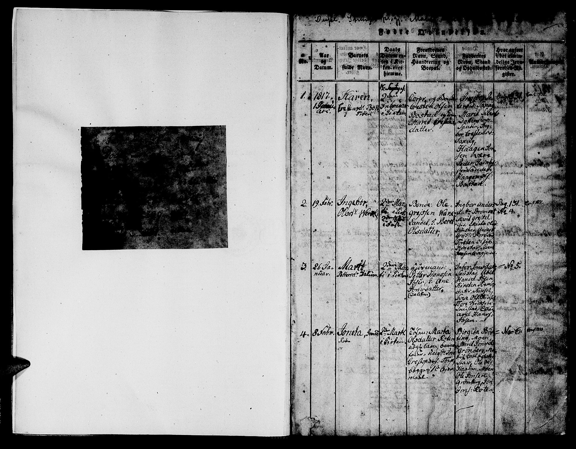 SAT, Ministerialprotokoller, klokkerbøker og fødselsregistre - Sør-Trøndelag, 616/L0420: Klokkerbok nr. 616C03, 1817-1835, s. 1
