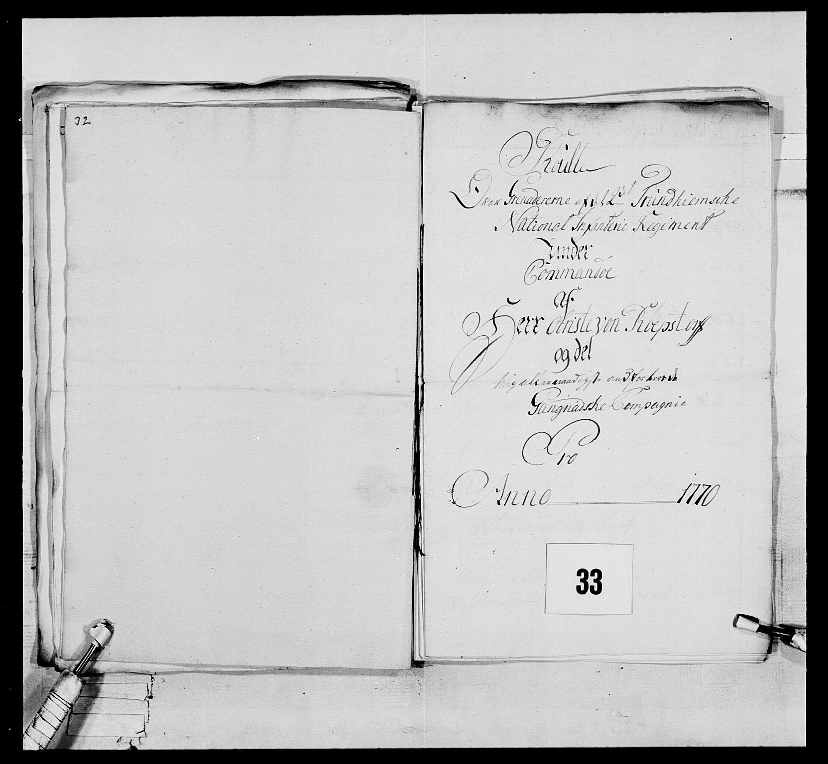 RA, Generalitets- og kommissariatskollegiet, Det kongelige norske kommissariatskollegium, E/Eh/L0076: 2. Trondheimske nasjonale infanteriregiment, 1766-1773, s. 98
