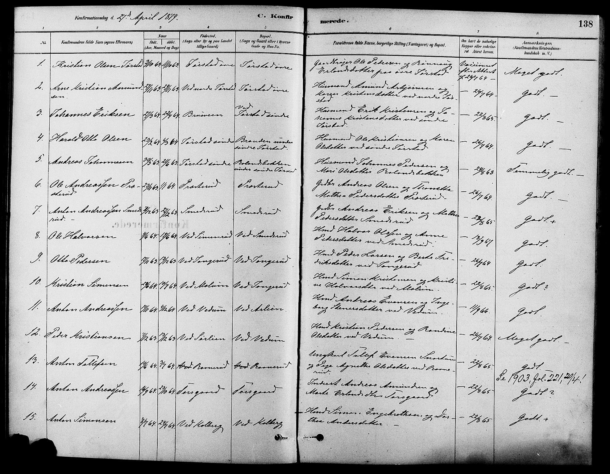 SAH, Fåberg prestekontor, Ministerialbok nr. 8, 1879-1898, s. 138