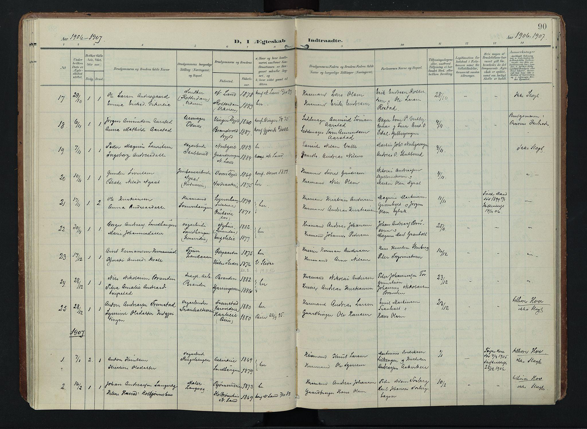 SAH, Søndre Land prestekontor, K/L0005: Ministerialbok nr. 5, 1905-1914, s. 90