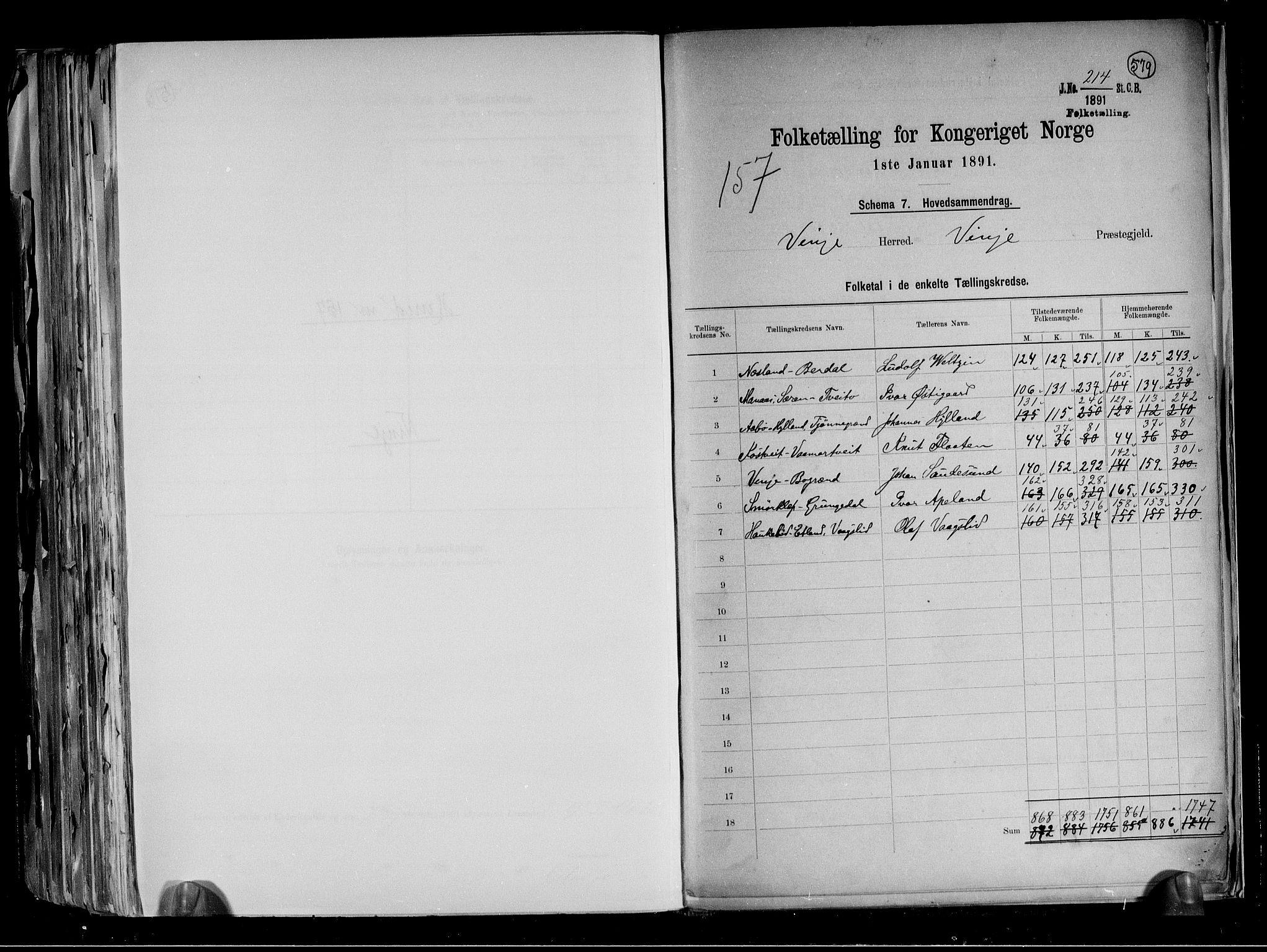 RA, Folketelling 1891 for 0834 Vinje herred, 1891, s. 2