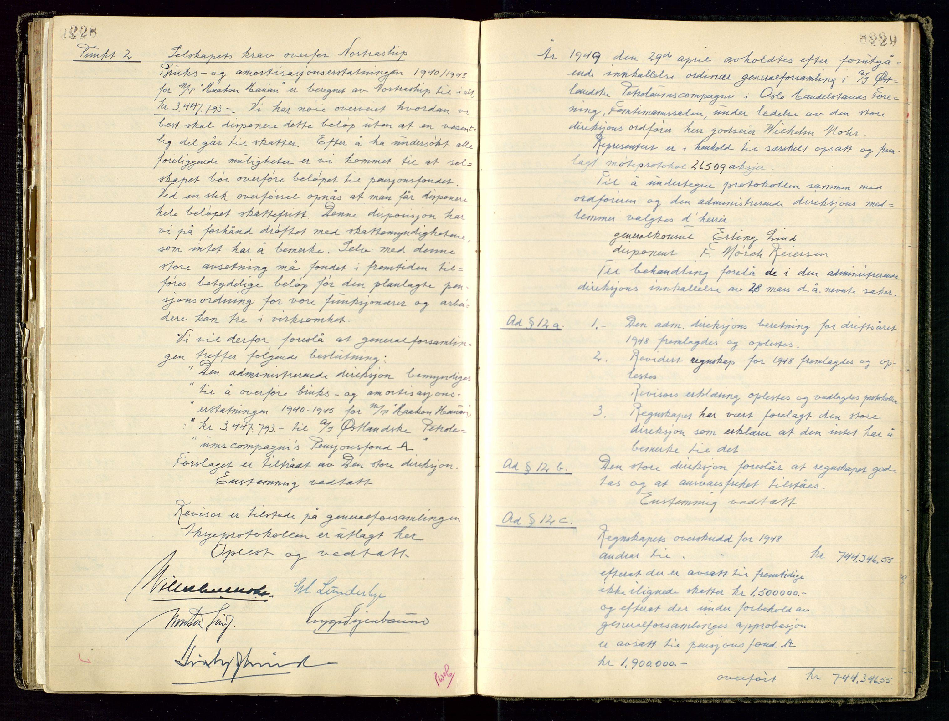 SAST, PA 1534 - Østlandske Petroleumscompagni A/S, A/Aa/L0001: Generalforsamlinger og direksjonsprotokoller., 1892-1960, s. 228-229