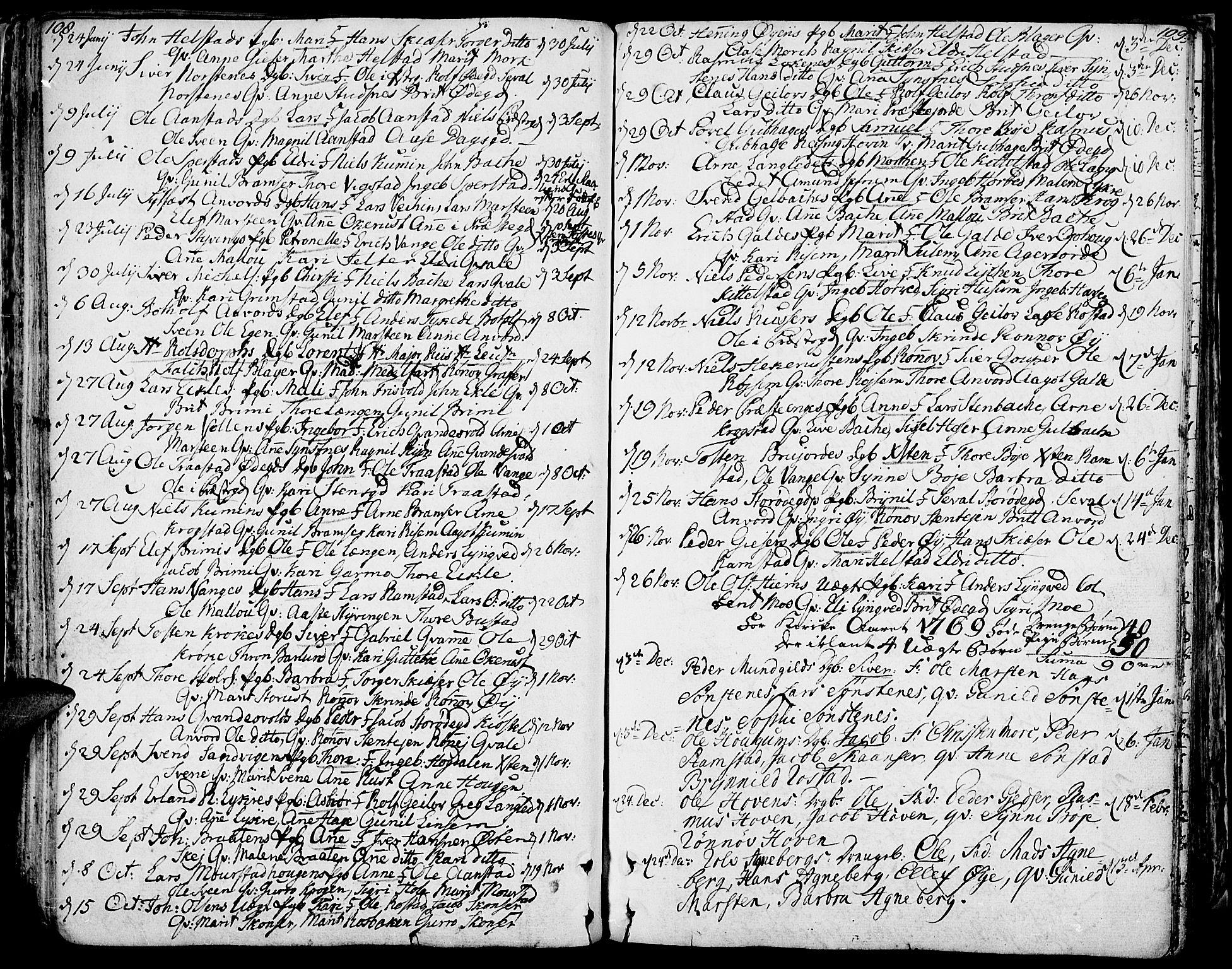SAH, Lom prestekontor, K/L0002: Ministerialbok nr. 2, 1749-1801, s. 108-109