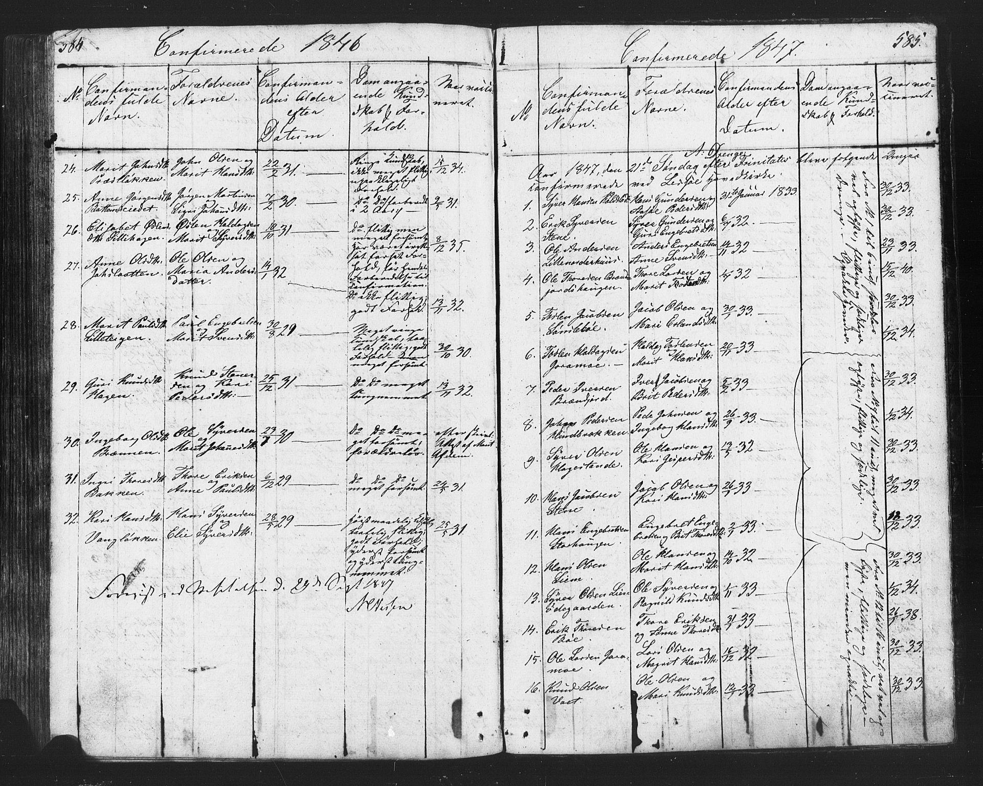 SAH, Lesja prestekontor, Klokkerbok nr. 2, 1832-1850, s. 584-585