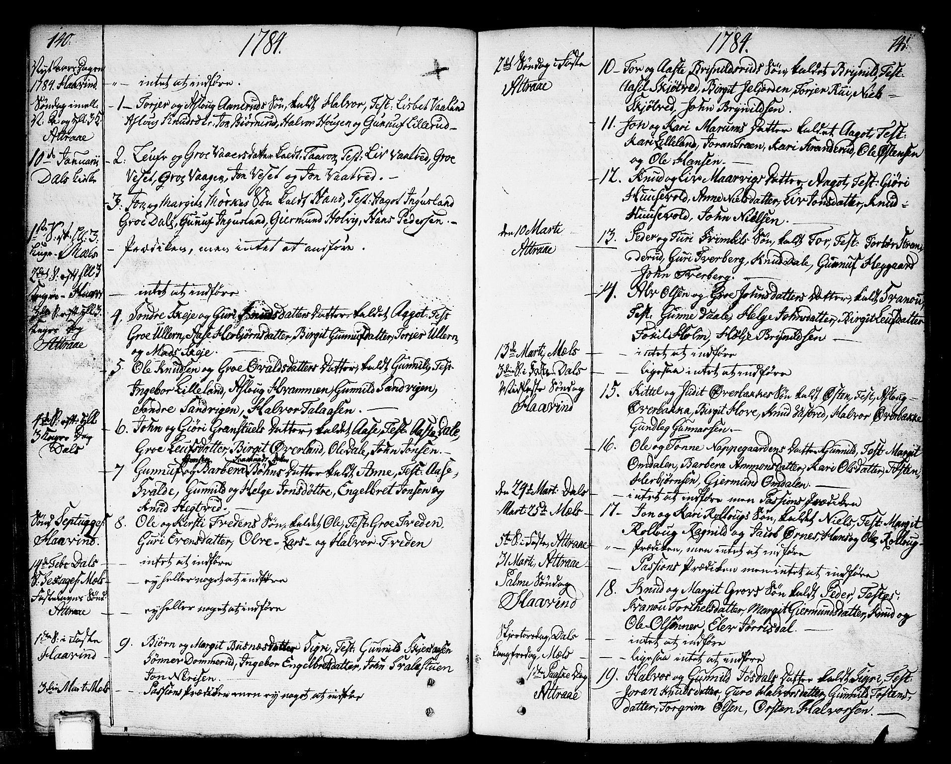 SAKO, Tinn kirkebøker, F/Fa/L0002: Ministerialbok nr. I 2, 1757-1810, s. 140-141