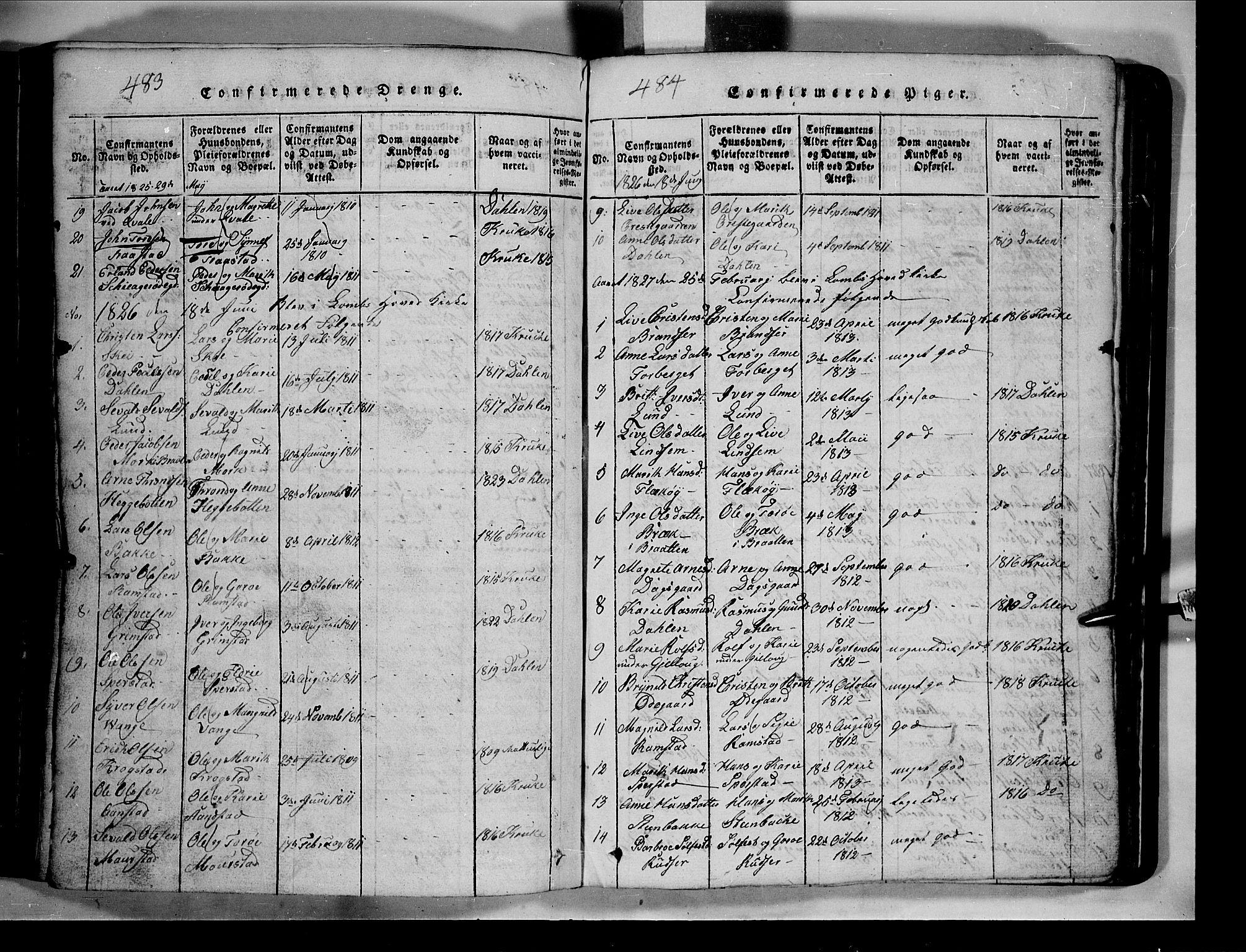 SAH, Lom prestekontor, L/L0003: Klokkerbok nr. 3, 1815-1844, s. 483-484