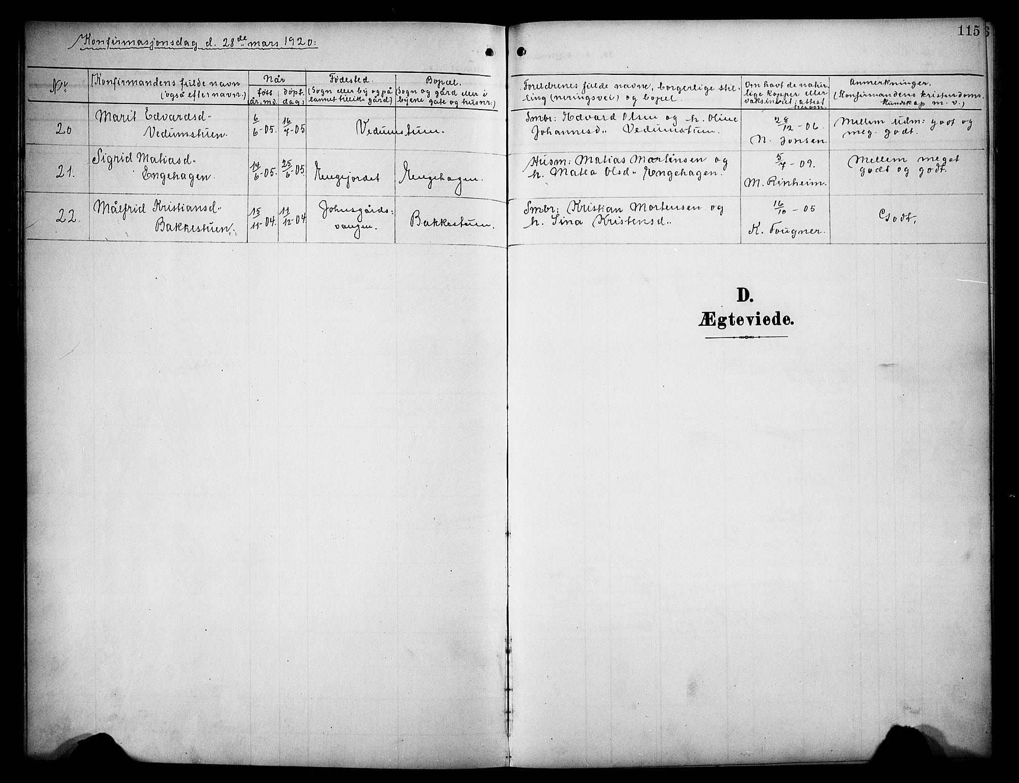 SAH, Øyer prestekontor, Klokkerbok nr. 6, 1906-1929, s. 115