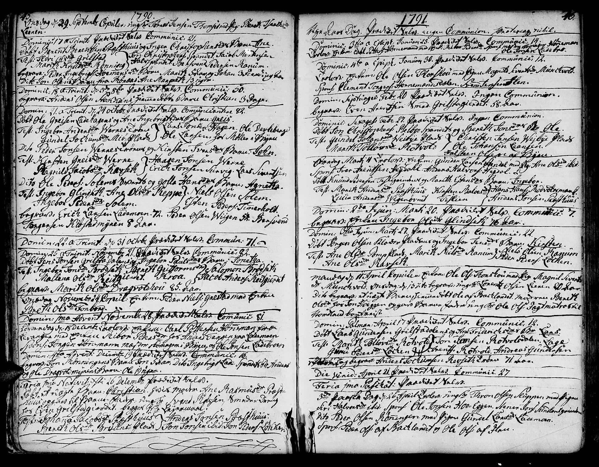 SAT, Ministerialprotokoller, klokkerbøker og fødselsregistre - Sør-Trøndelag, 606/L0280: Ministerialbok nr. 606A02 /1, 1781-1817, s. 45-46