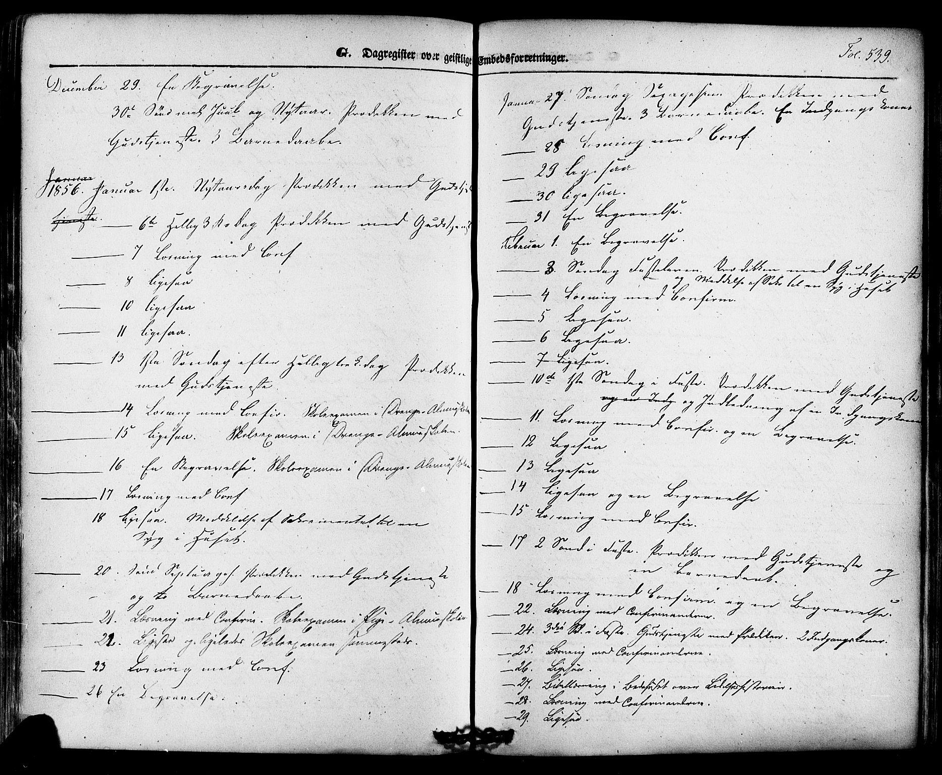 SAKO, Skien kirkebøker, F/Fa/L0006a: Ministerialbok nr. 6A, 1843-1856, s. 539