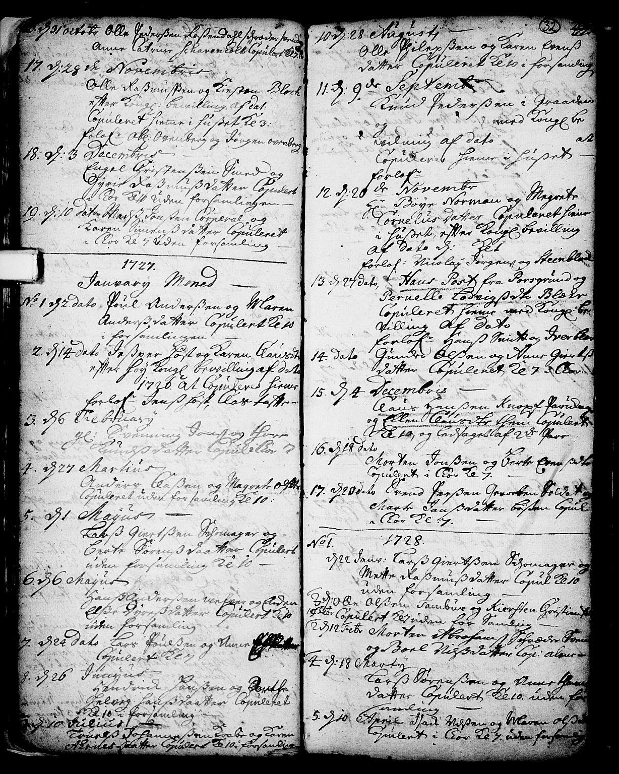 SAKO, Skien kirkebøker, F/Fa/L0002: Ministerialbok nr. 2, 1716-1757, s. 32
