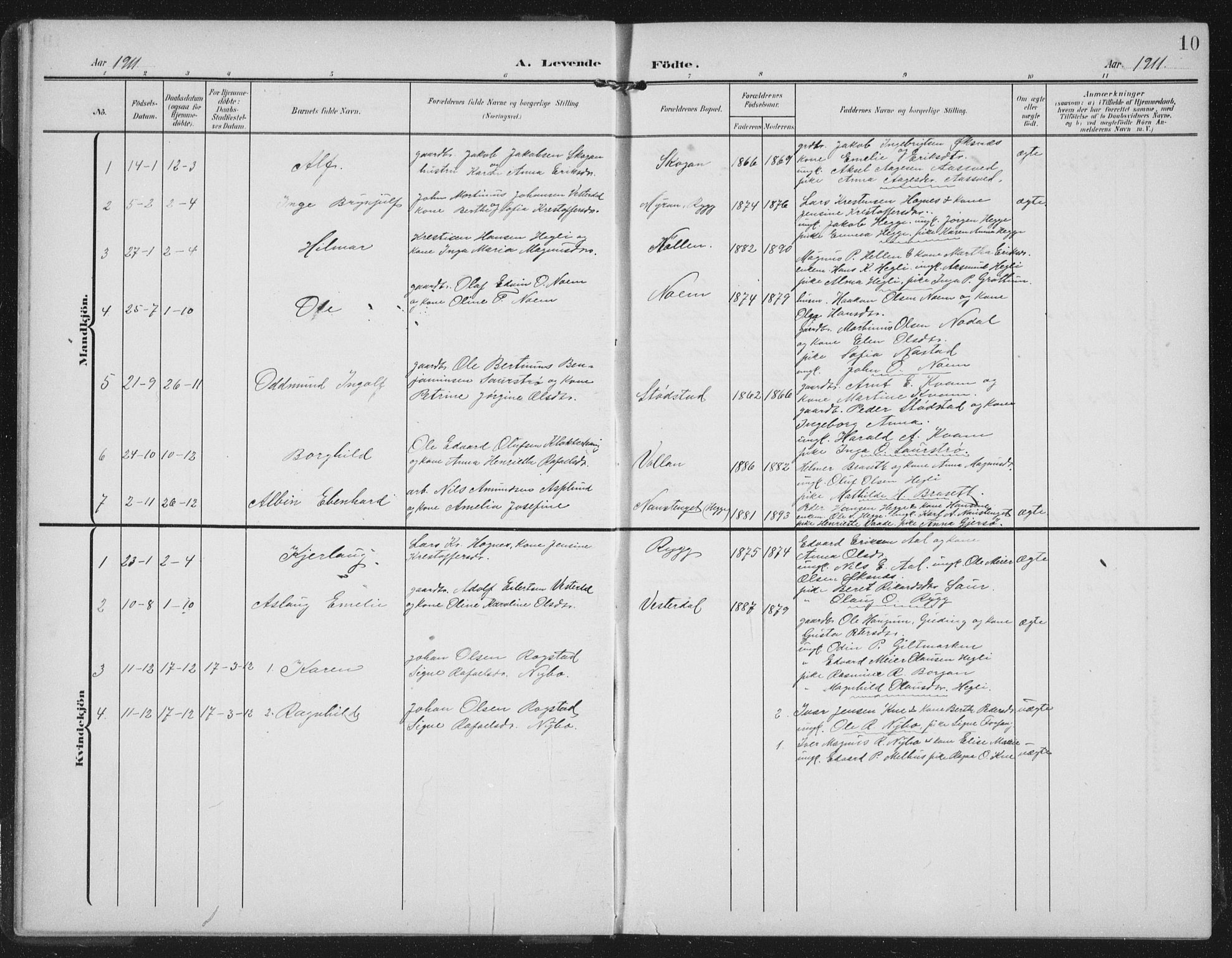 SAT, Ministerialprotokoller, klokkerbøker og fødselsregistre - Nord-Trøndelag, 747/L0460: Klokkerbok nr. 747C02, 1908-1939, s. 10