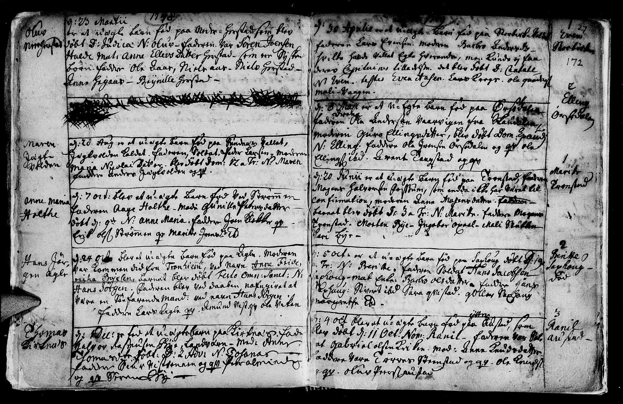 SAT, Ministerialprotokoller, klokkerbøker og fødselsregistre - Nord-Trøndelag, 730/L0272: Ministerialbok nr. 730A01, 1733-1764, s. 172