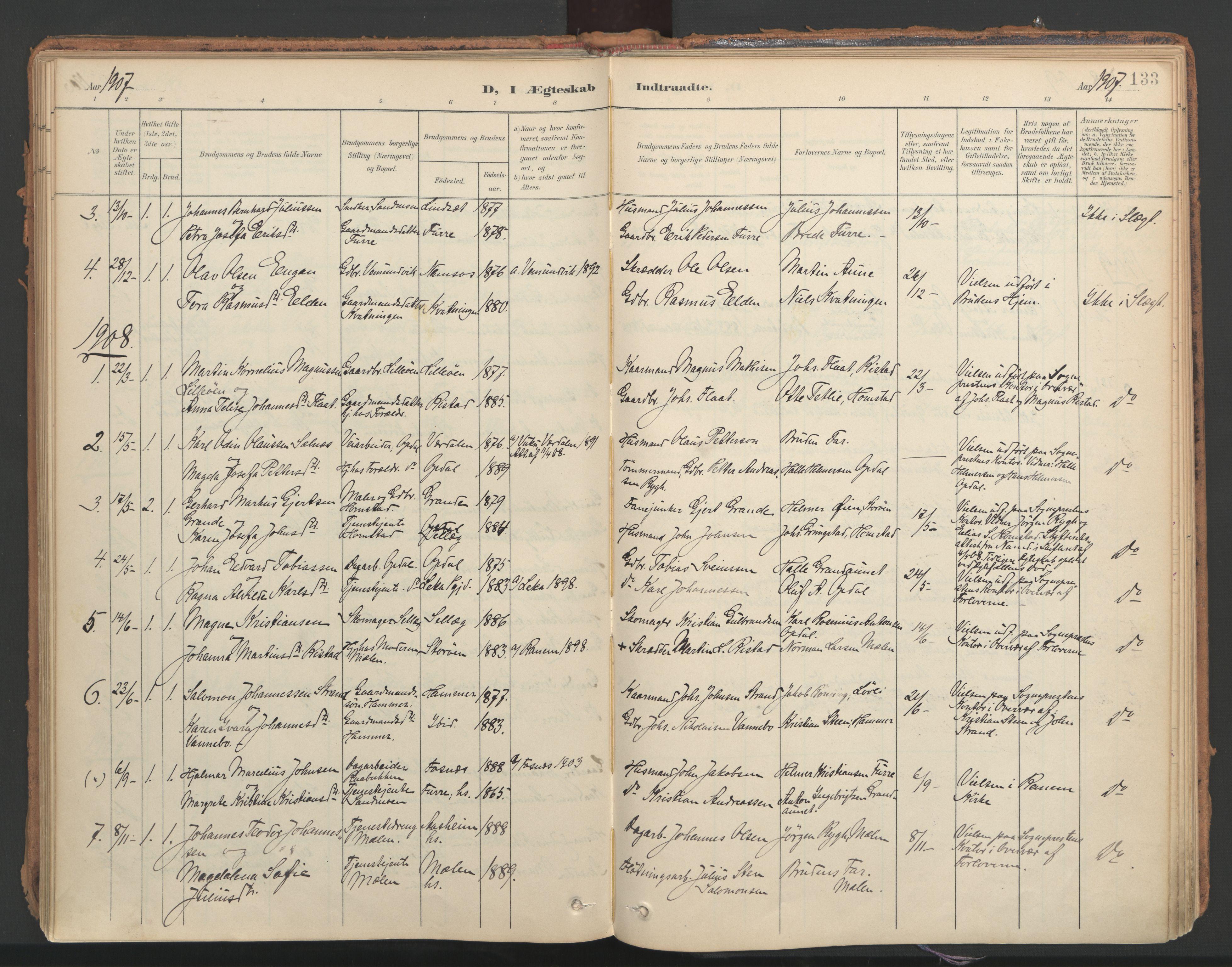 SAT, Ministerialprotokoller, klokkerbøker og fødselsregistre - Nord-Trøndelag, 766/L0564: Ministerialbok nr. 767A02, 1900-1932, s. 133