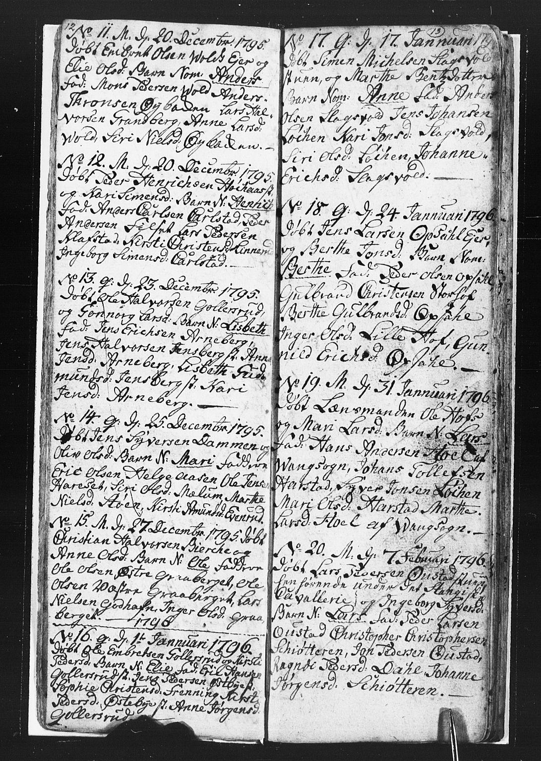 SAH, Romedal prestekontor, L/L0002: Klokkerbok nr. 2, 1795-1800, s. 12-13